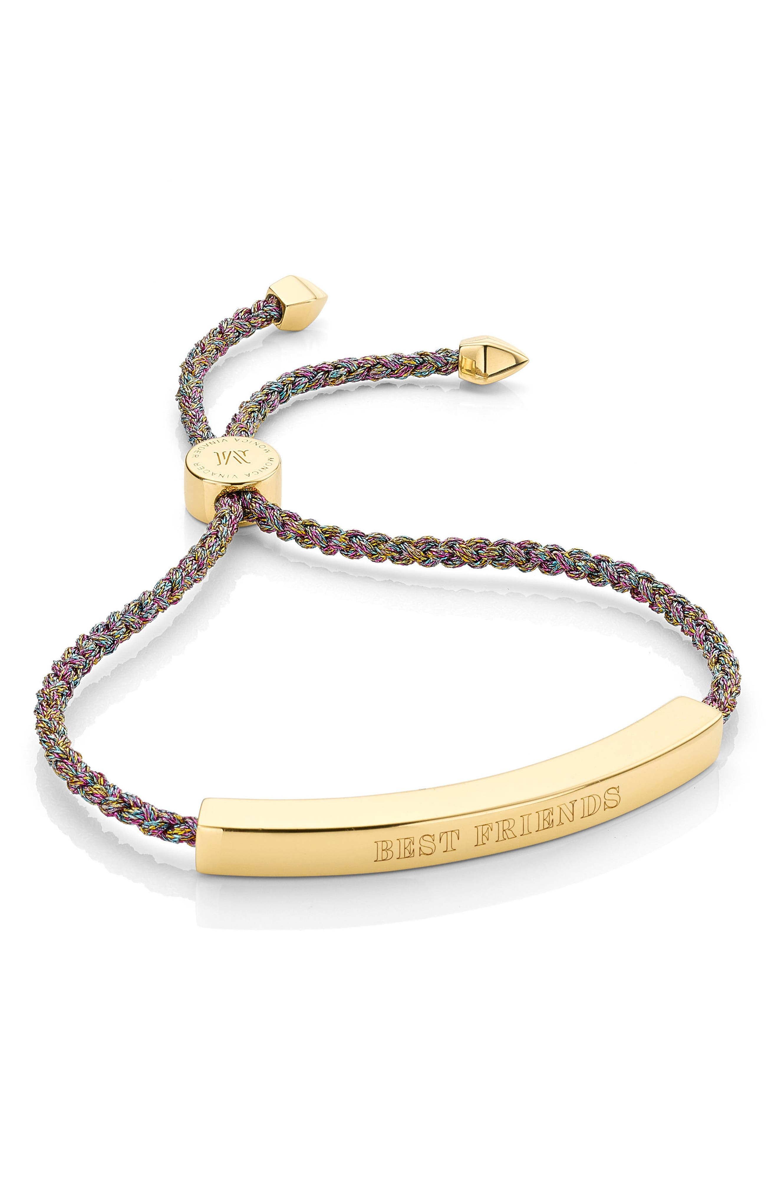 Engravable Large Linear Friendship Bracelet,                             Alternate thumbnail 3, color,                             RAINBOW METALLIC/ YELLOW GOLD