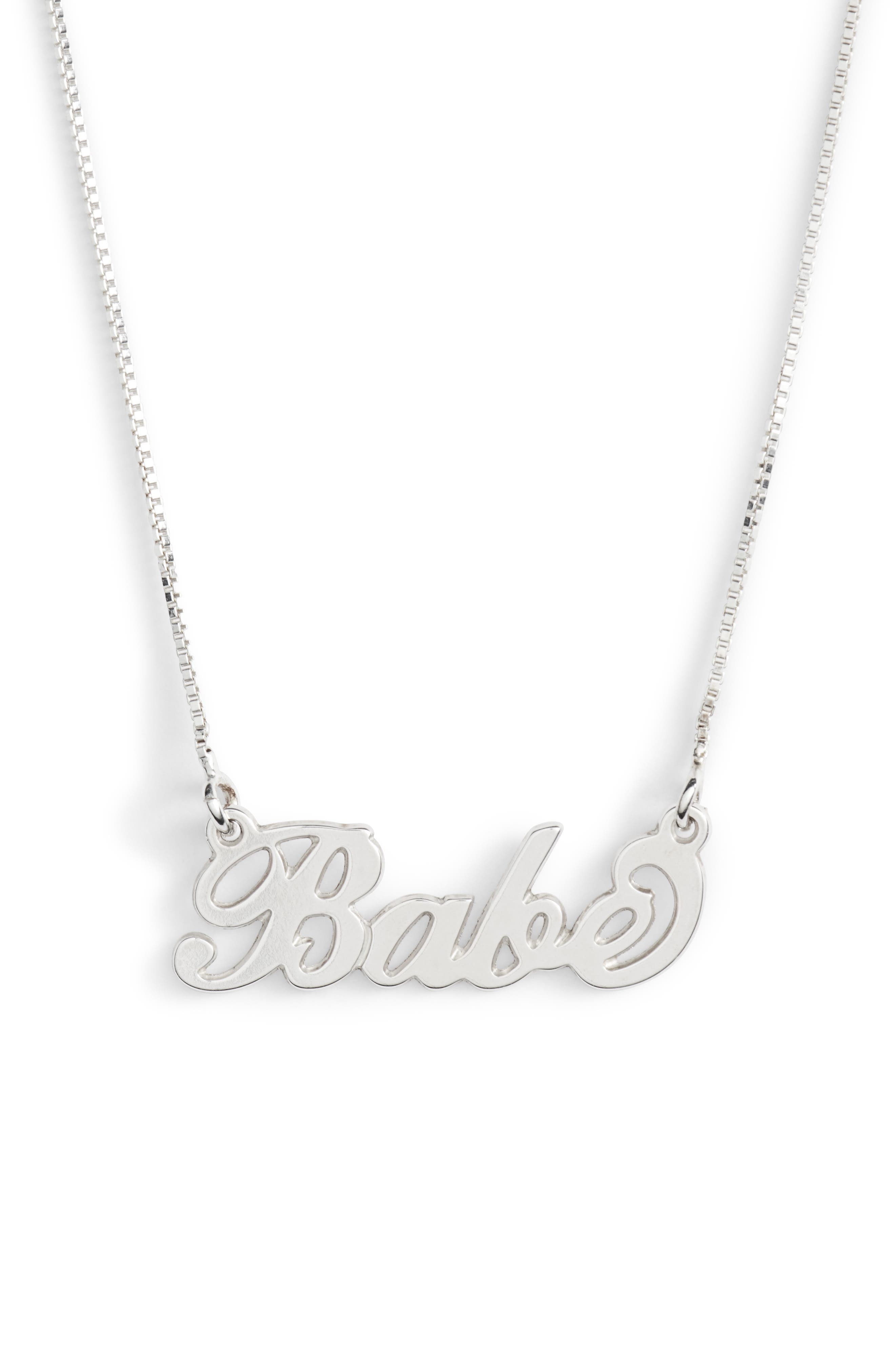 Classic Script Necklace,                             Main thumbnail 1, color,                             SILVER- BABE
