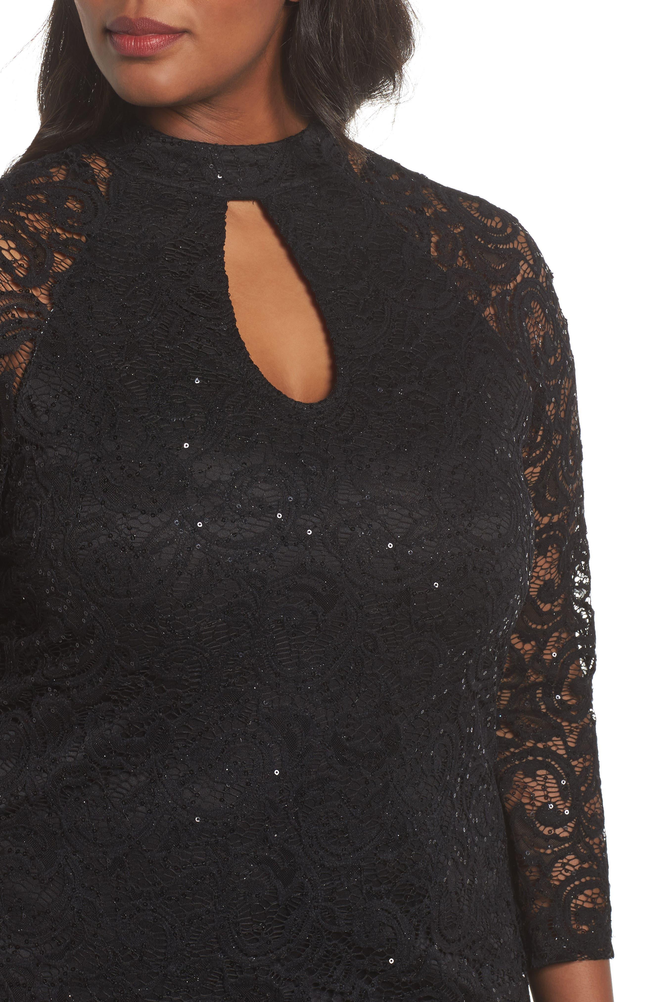 Sequin Keyhole Sheath Dress,                             Alternate thumbnail 4, color,                             001