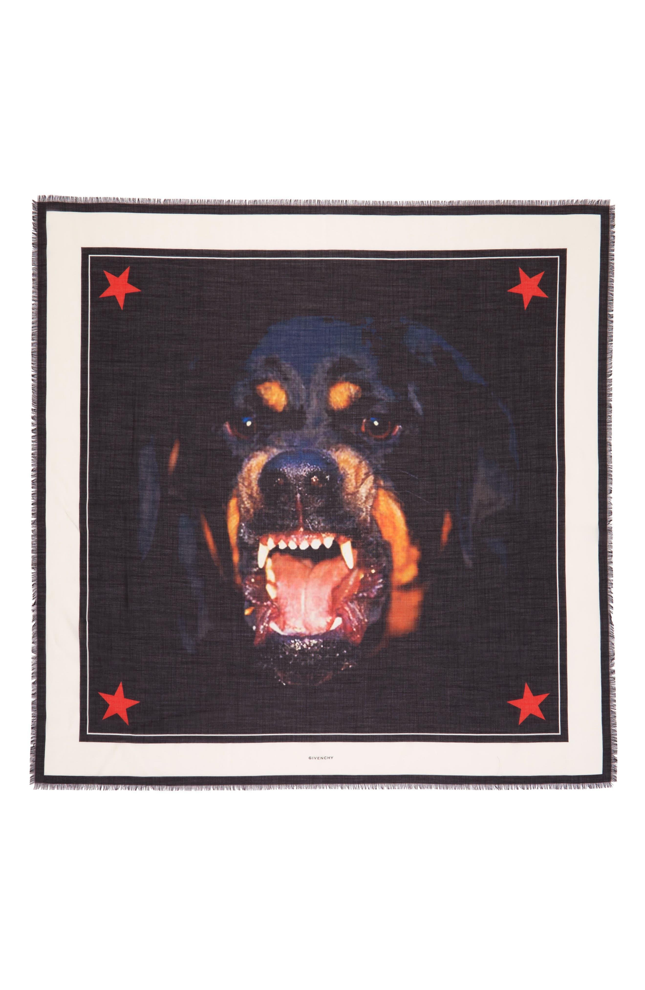 'Rottweiler' Silk Blend Scarf,                             Alternate thumbnail 8, color,