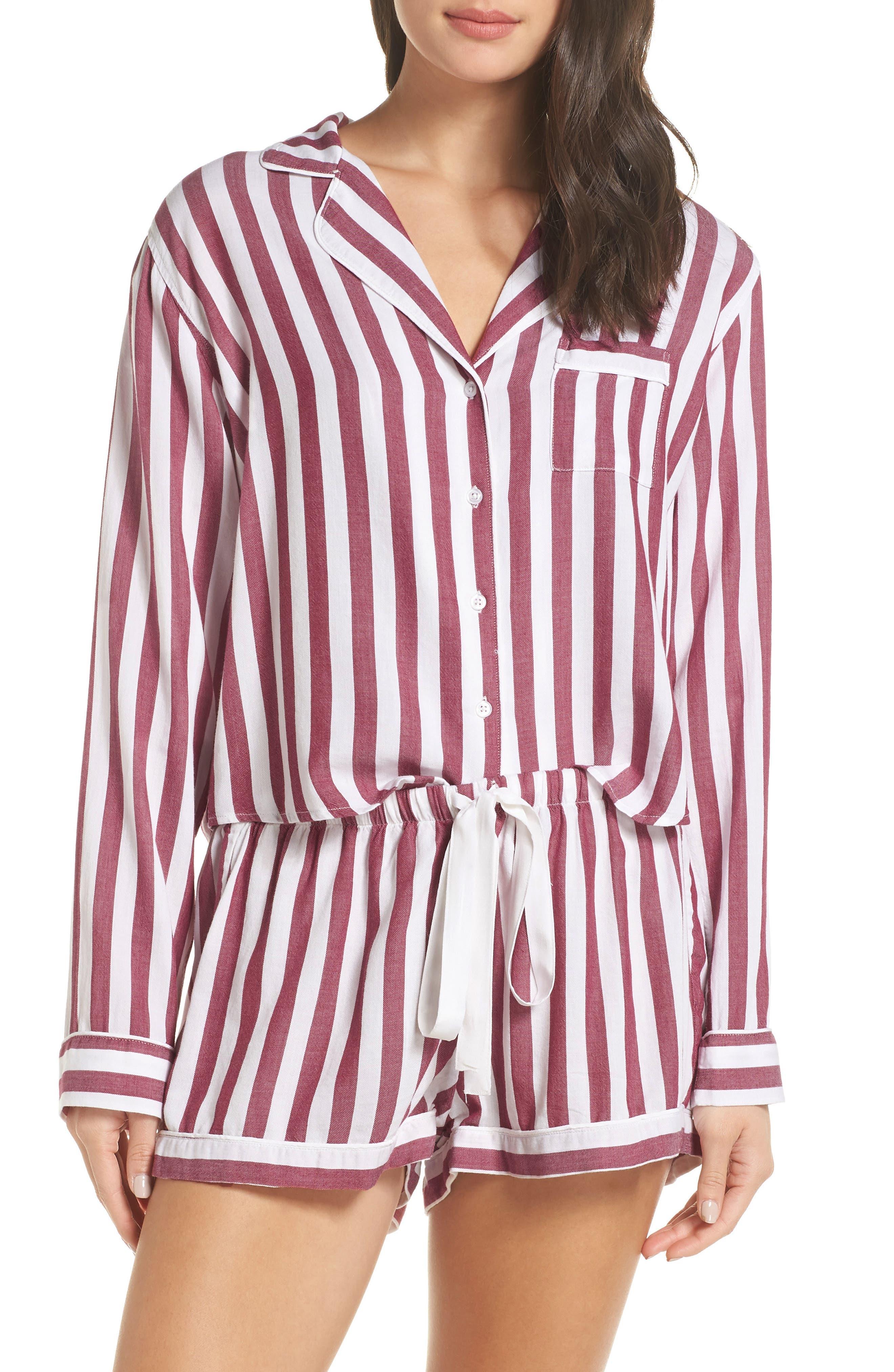 Stripe Short Pajamas,                             Main thumbnail 1, color,                             TOLEDO STRIPE