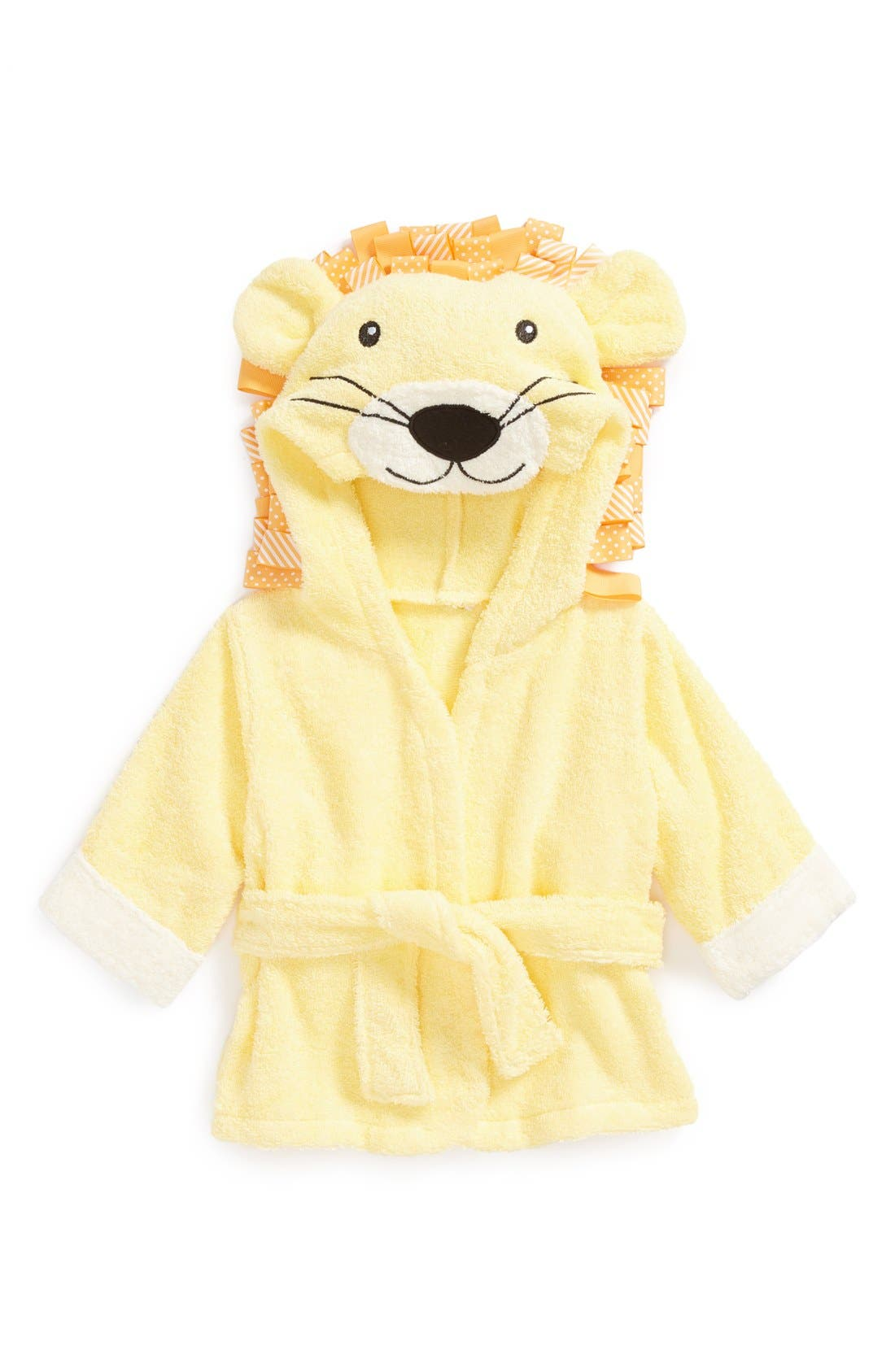 'Big Top Bathtime' Lion Hooded Terry Robe,                             Alternate thumbnail 4, color,                             YELLOW