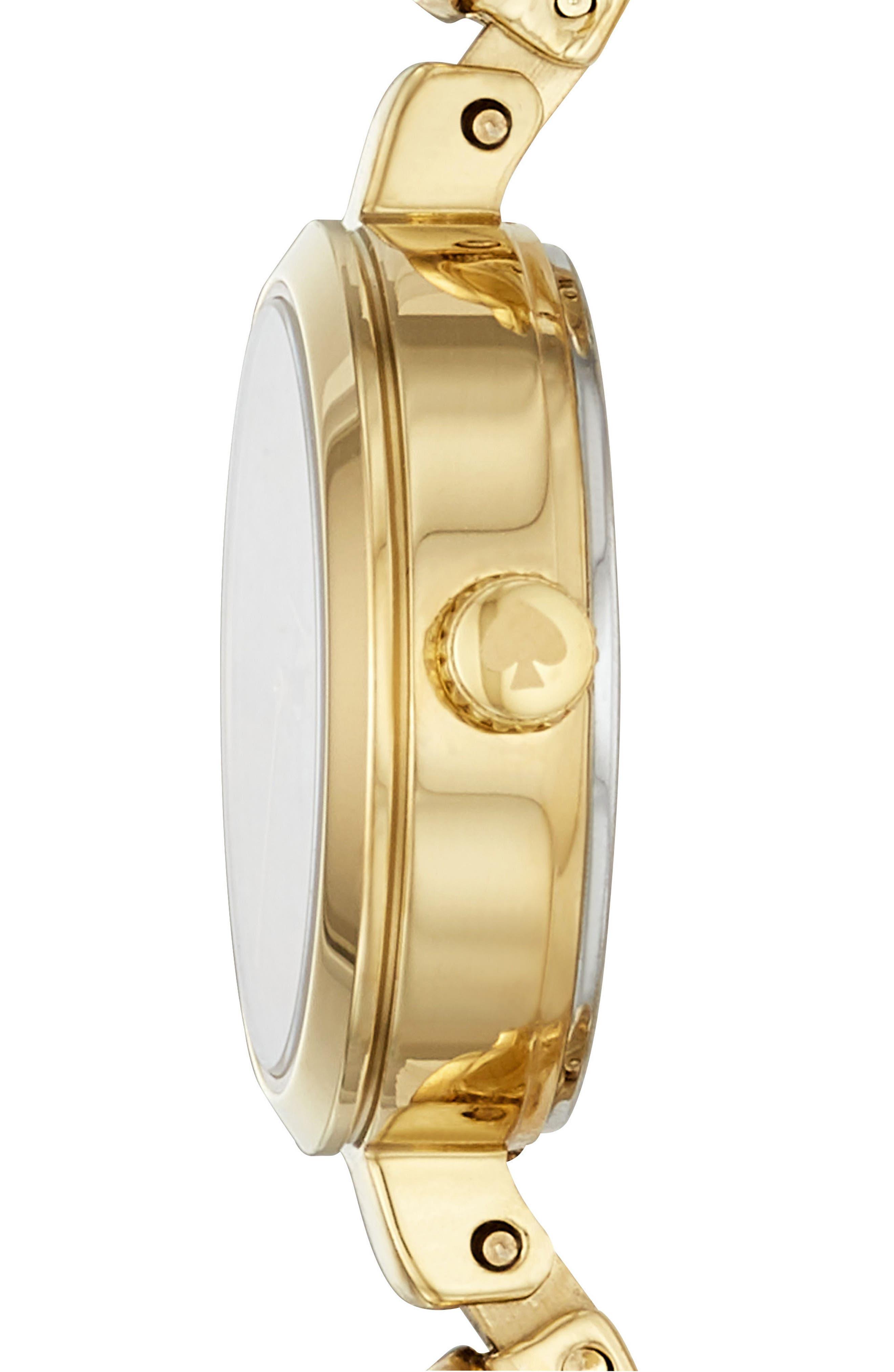 kate spade metro bracelet watch, 21mm,                             Alternate thumbnail 2, color,                             GOLD/ MOP/ GOLD