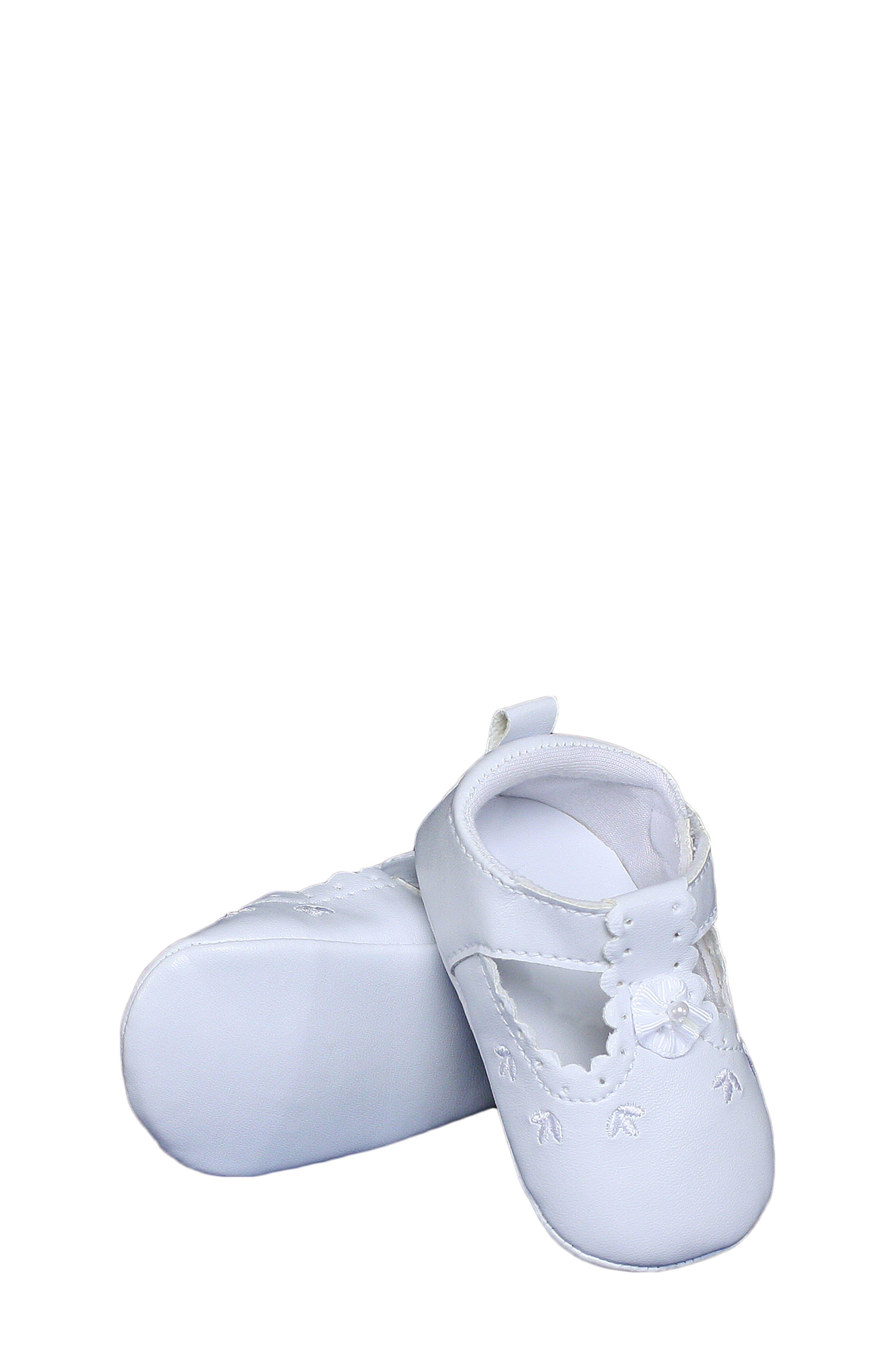 Mary Jane Crib Shoe,                             Alternate thumbnail 3, color,                             WHITE
