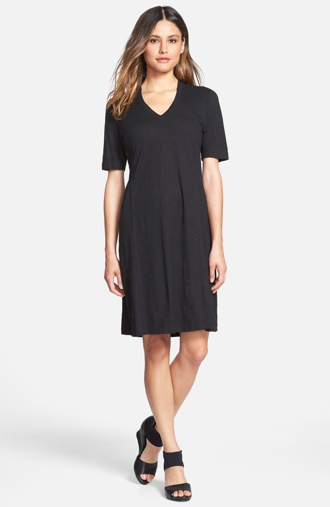 Hemp & Organic Cotton Deep V-Neck Dress,                         Main,                         color, 001