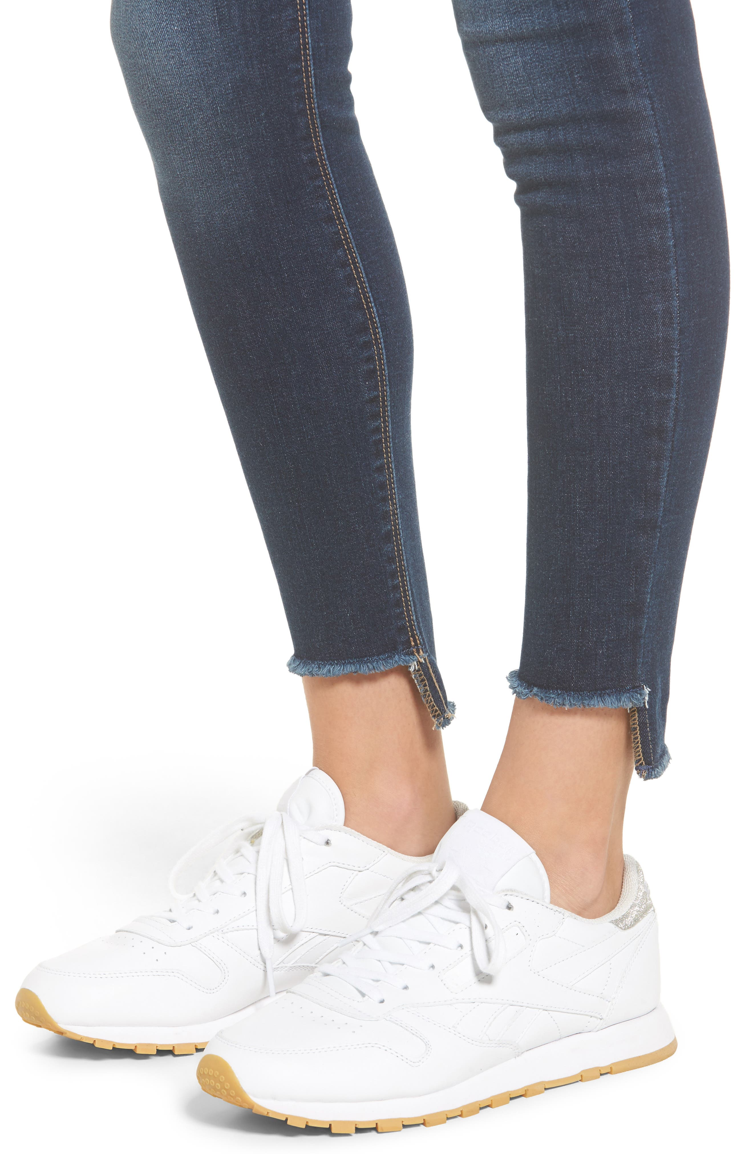 High Waist Step Hem Skinny Jeans,                             Alternate thumbnail 4, color,                             401