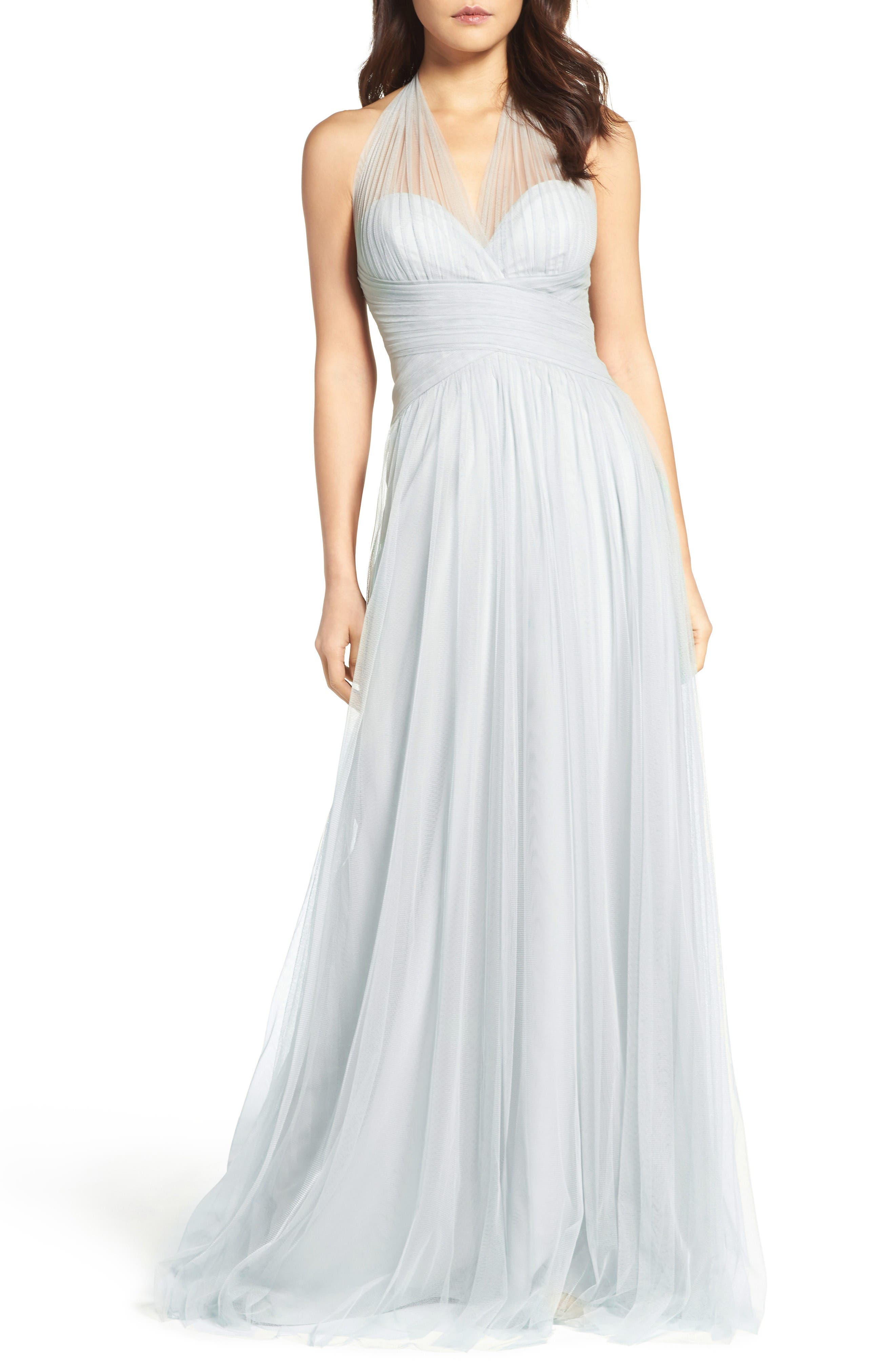 Halter Tulle A-Line Gown,                             Main thumbnail 1, color,                             FRENCH BLUE