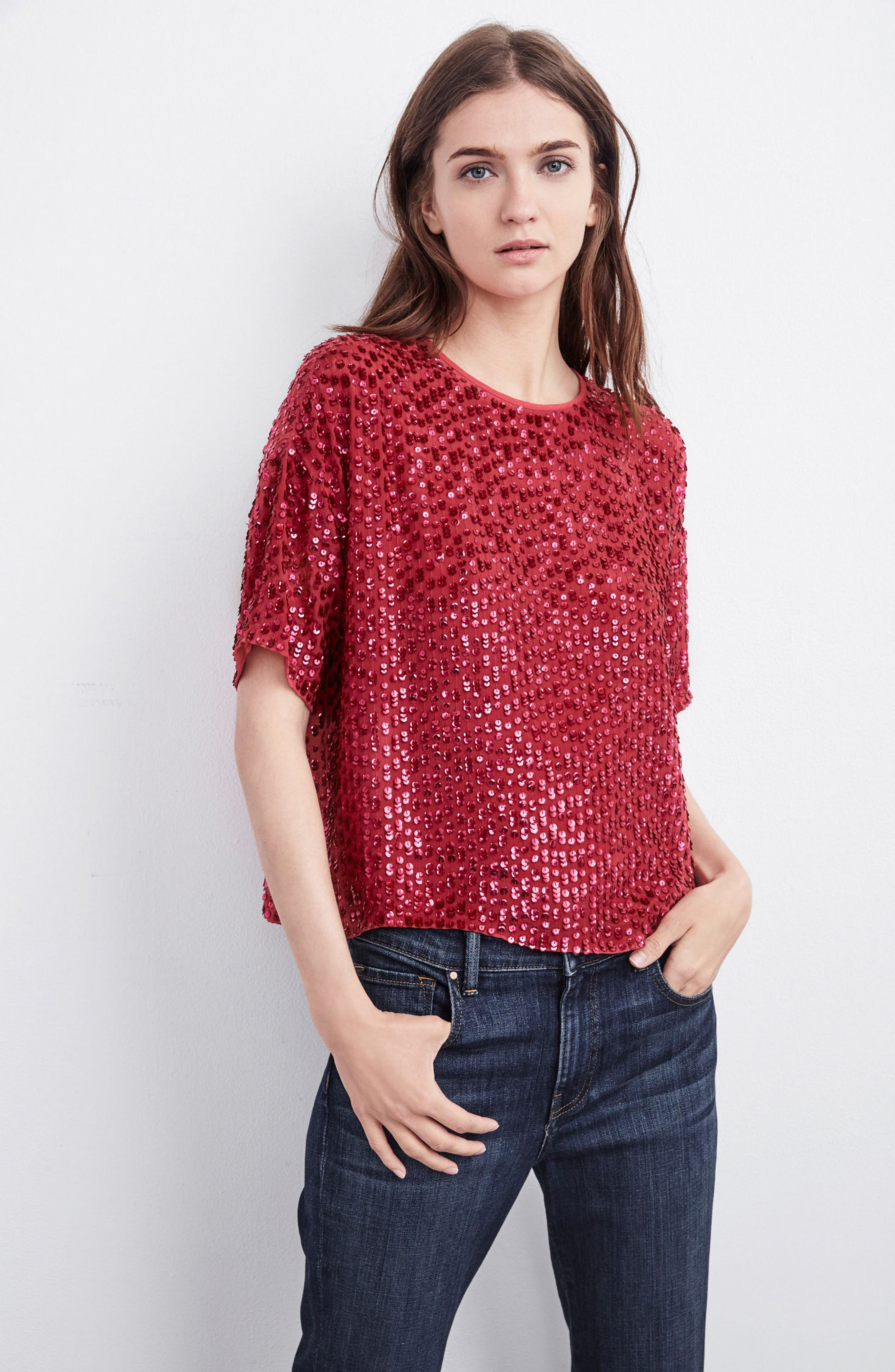 Short Sleeve Sequin Top,                             Alternate thumbnail 8, color,                             HOT PINK