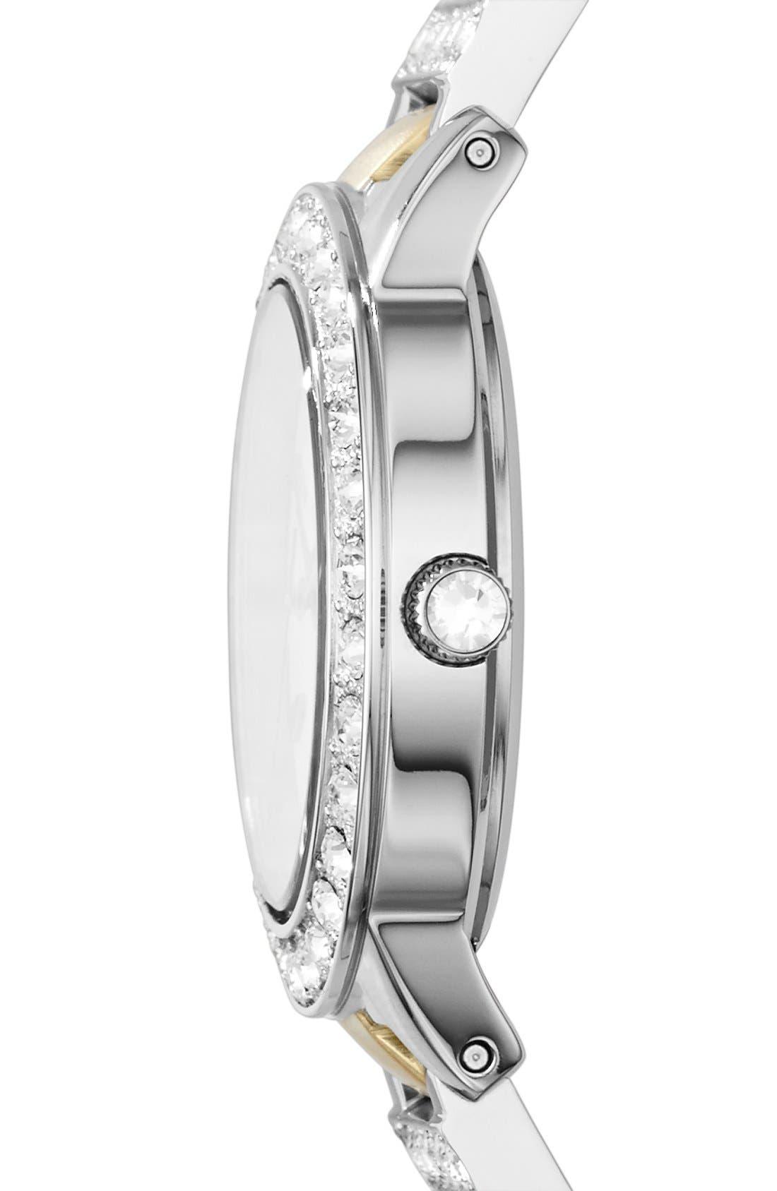 'Jesse' Crystal Embellished Bracelet Watch, 34mm,                             Alternate thumbnail 3, color,                             GOLD / SILVER