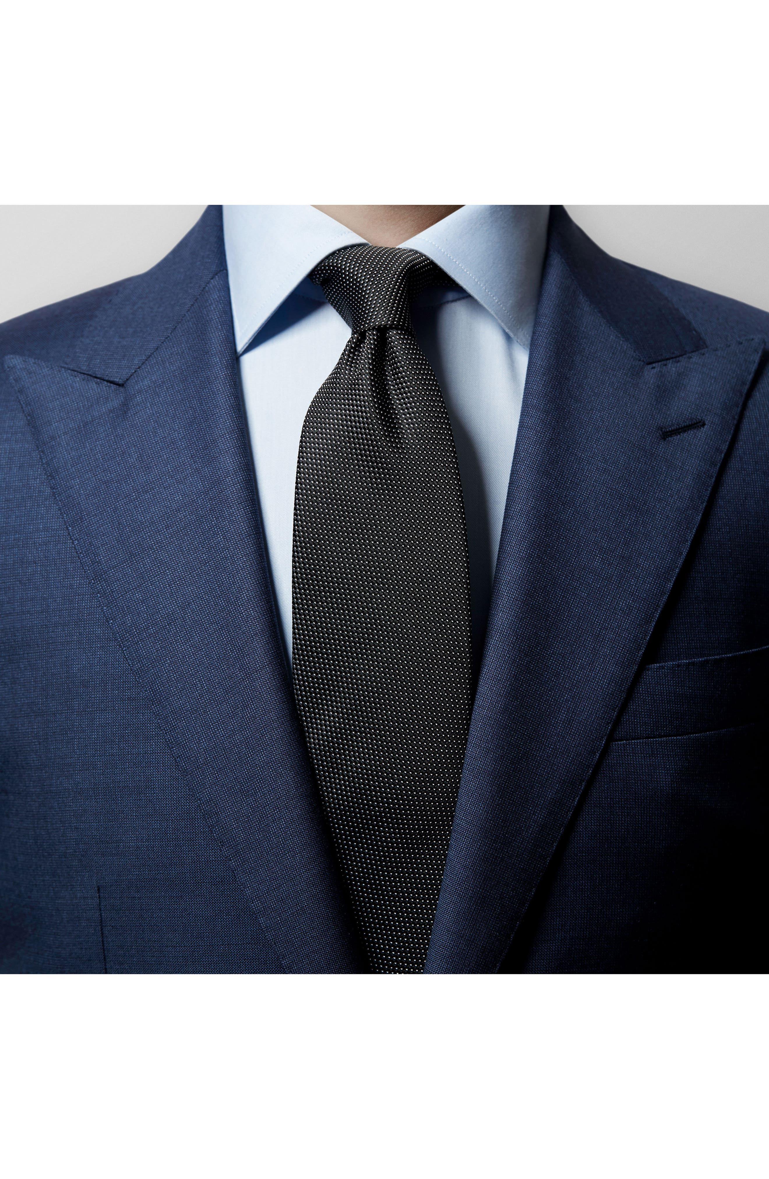 Microdot Silk Tie,                             Alternate thumbnail 5, color,                             BLACK
