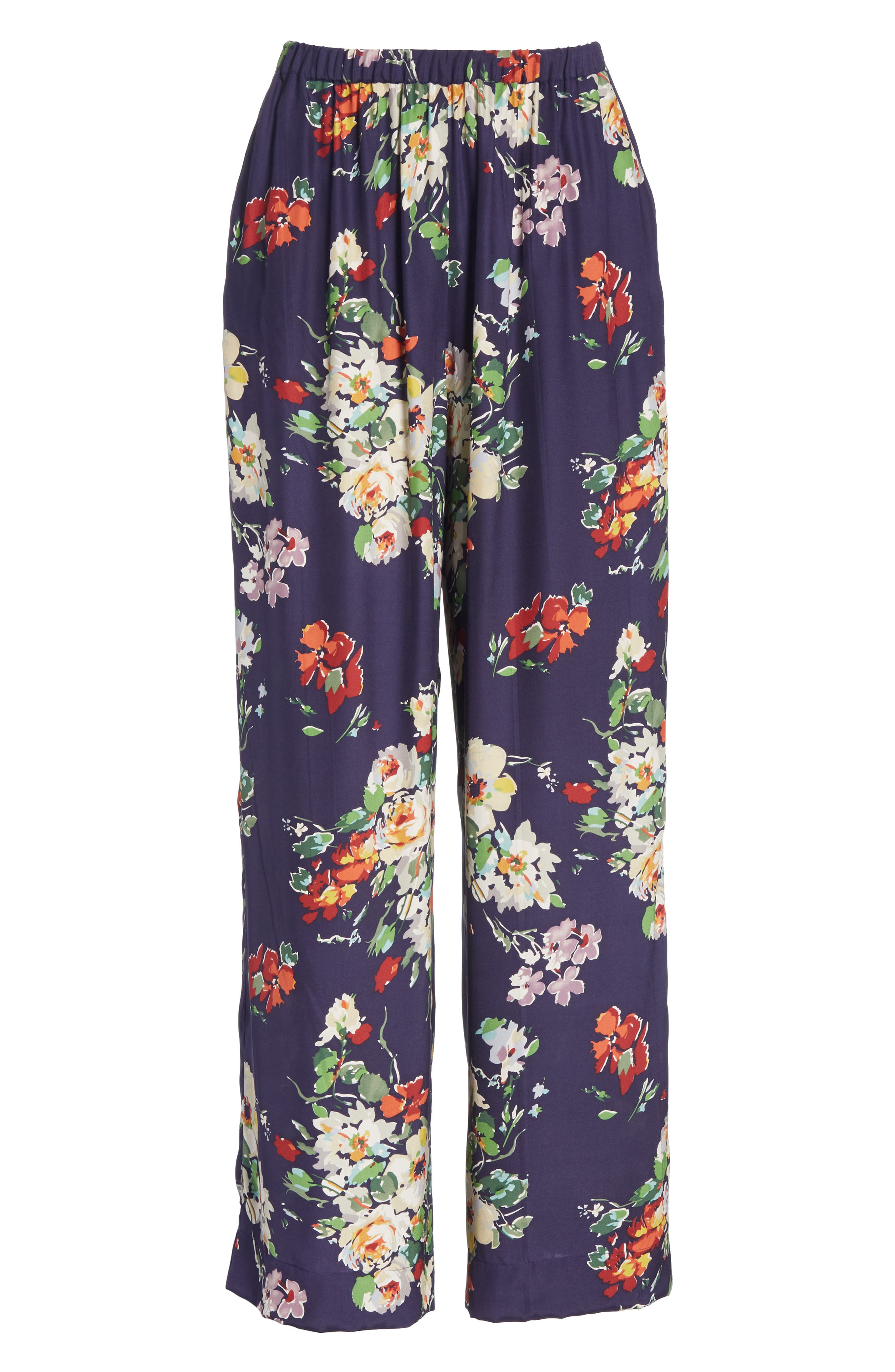 Chaplin Floral Silk Trousers,                             Alternate thumbnail 6, color,                             NIGHTFALL FLORAL PRINT