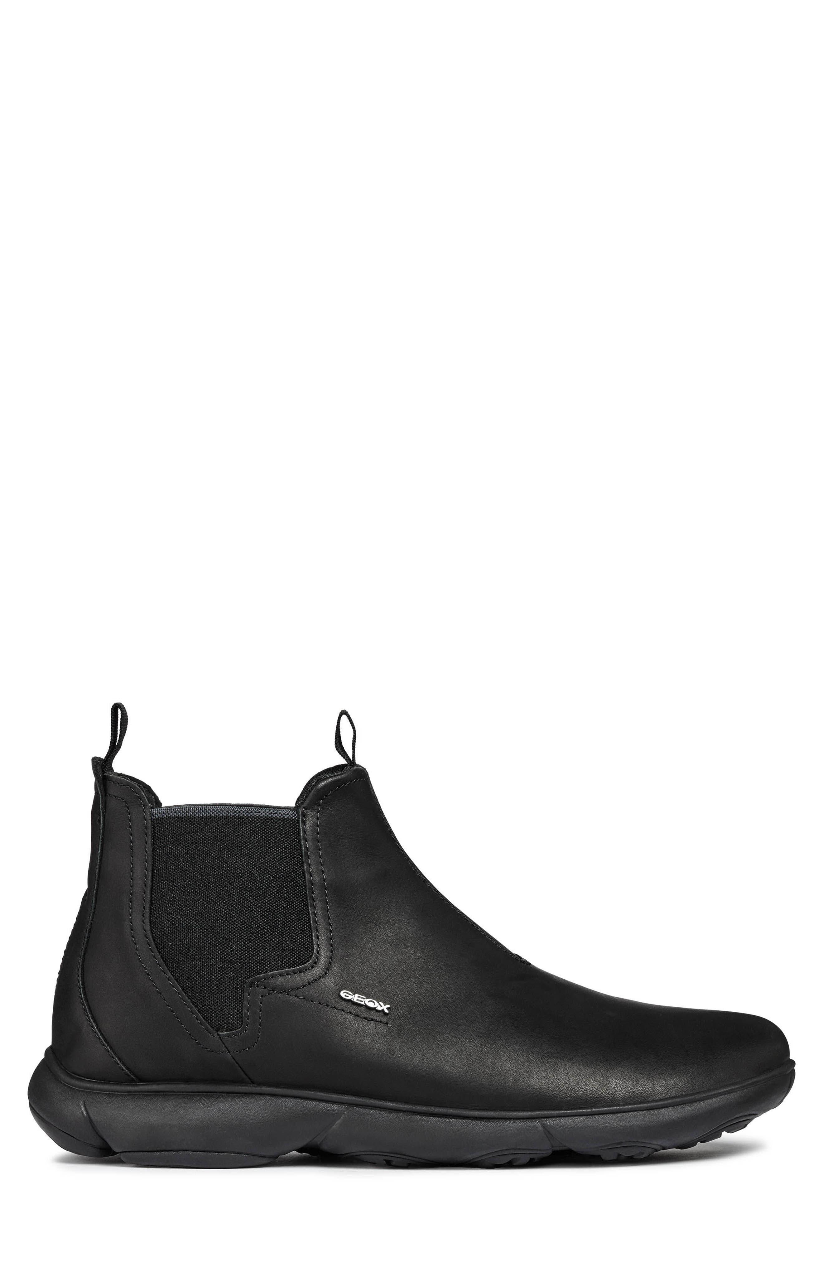 Nebula Mid Chelsea Sneaker,                             Alternate thumbnail 3, color,                             BLACK LEATHER