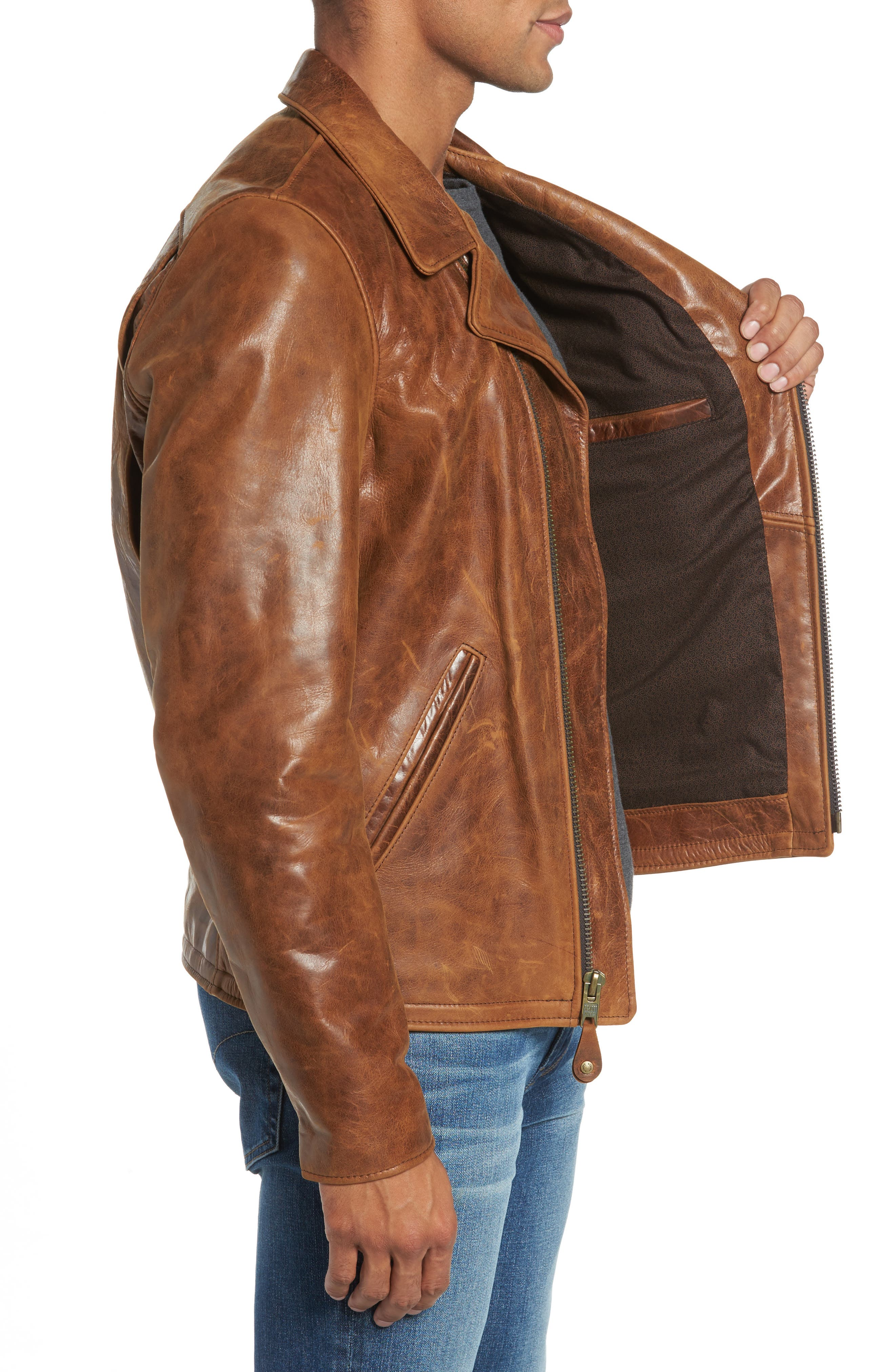 Asymmetrical Waxy Leather Jacket,                             Alternate thumbnail 3, color,                             SYCAMORE