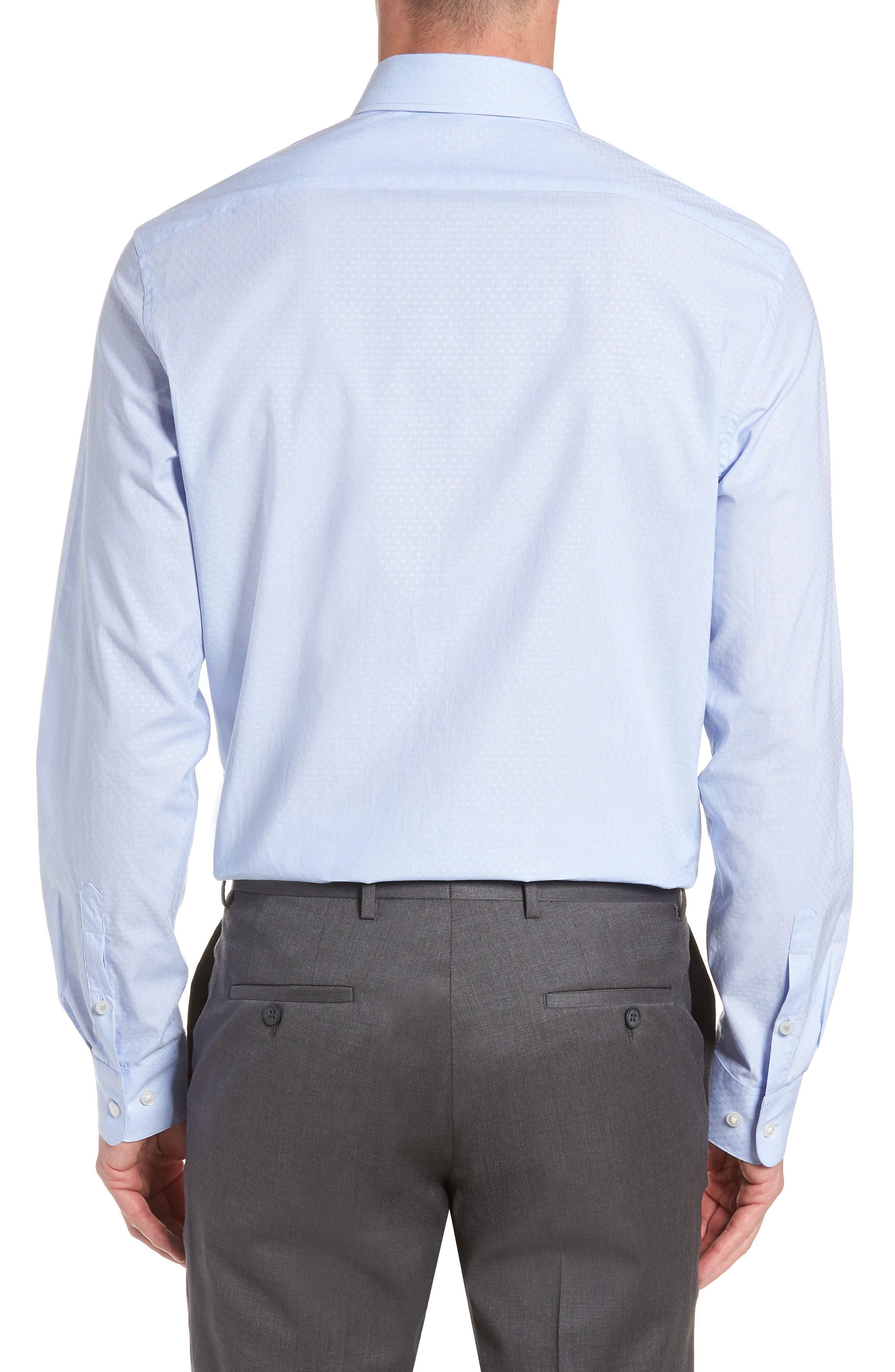 Regular Fit Stripe Dress Shirt,                             Alternate thumbnail 3, color,                             CLOUD
