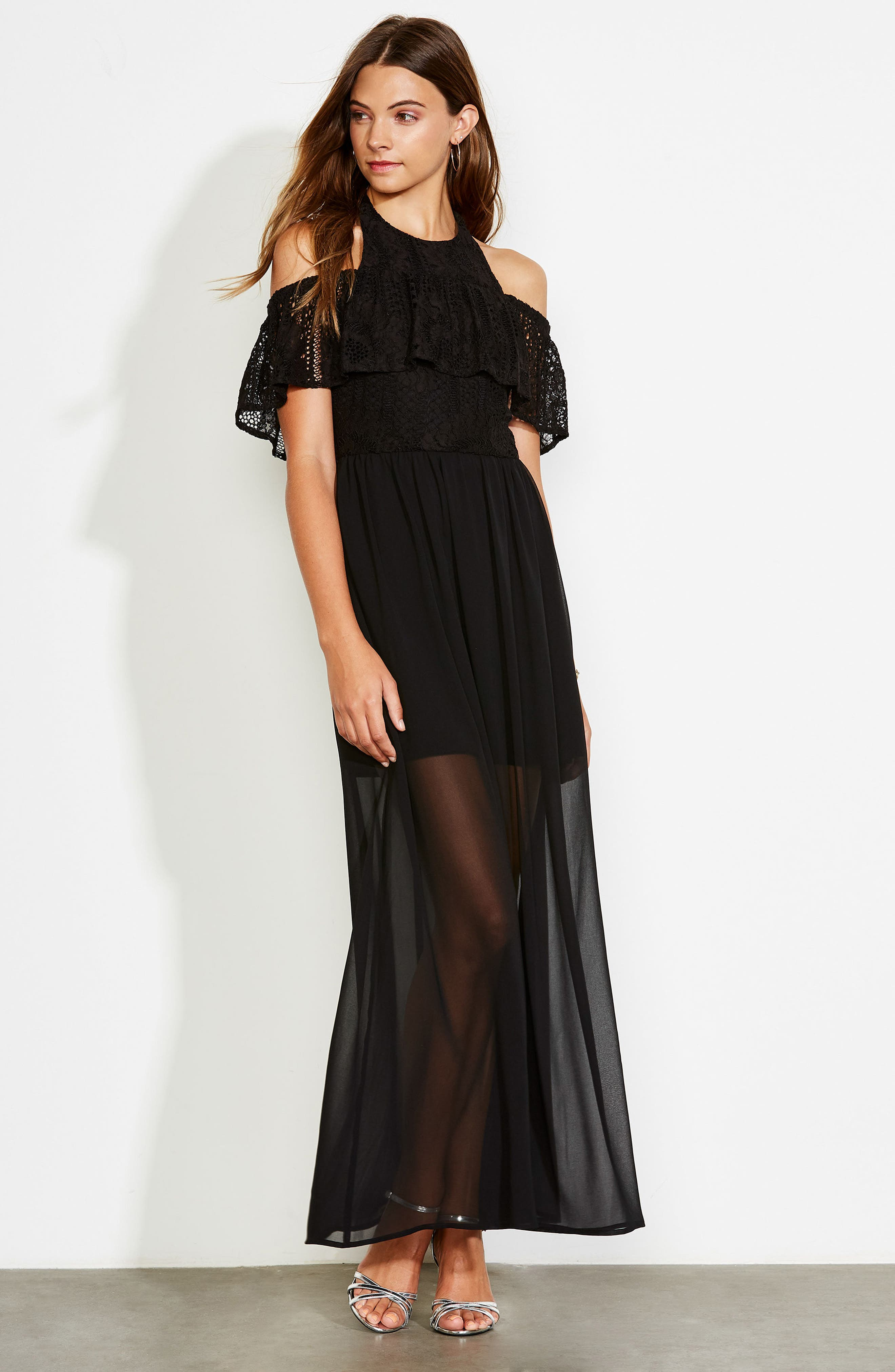 One Hand One Heart Cold Shoulder Maxi Dress,                             Alternate thumbnail 8, color,                             001