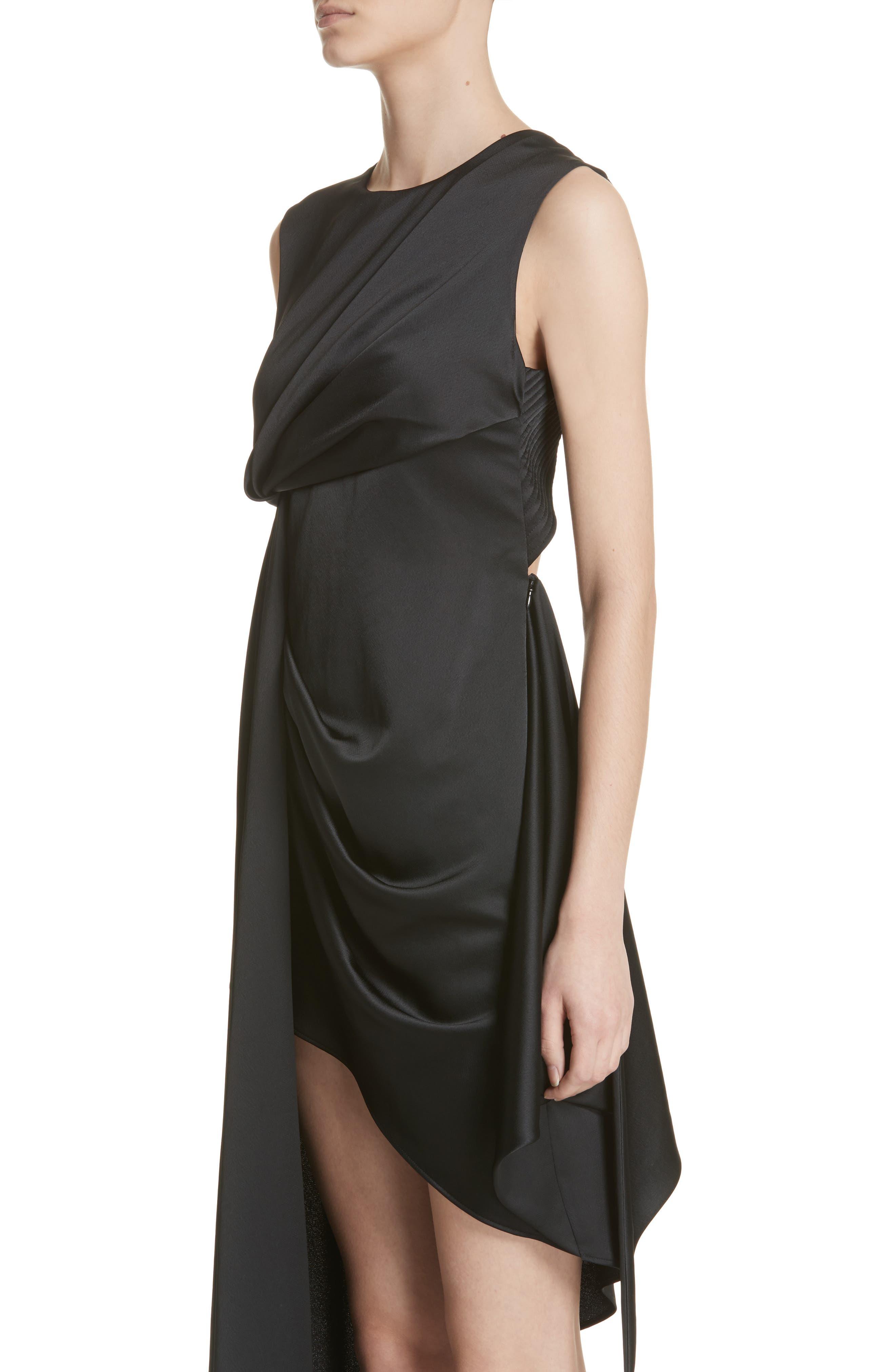 Asymmetric Satin Dress,                             Alternate thumbnail 4, color,                             001
