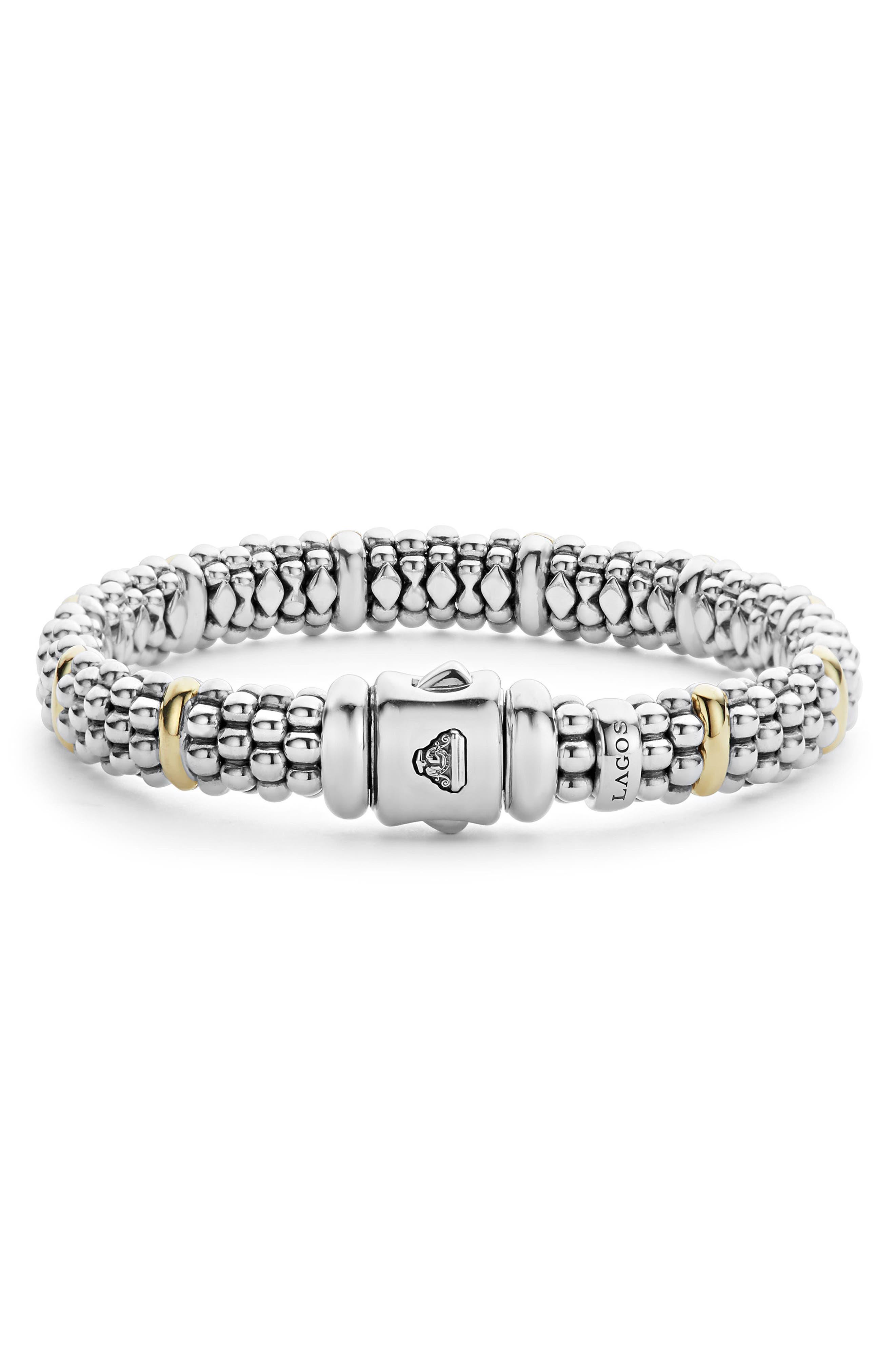 Oval Caviar Rope Bracelet,                             Alternate thumbnail 3, color,                             SILVER/ GOLD