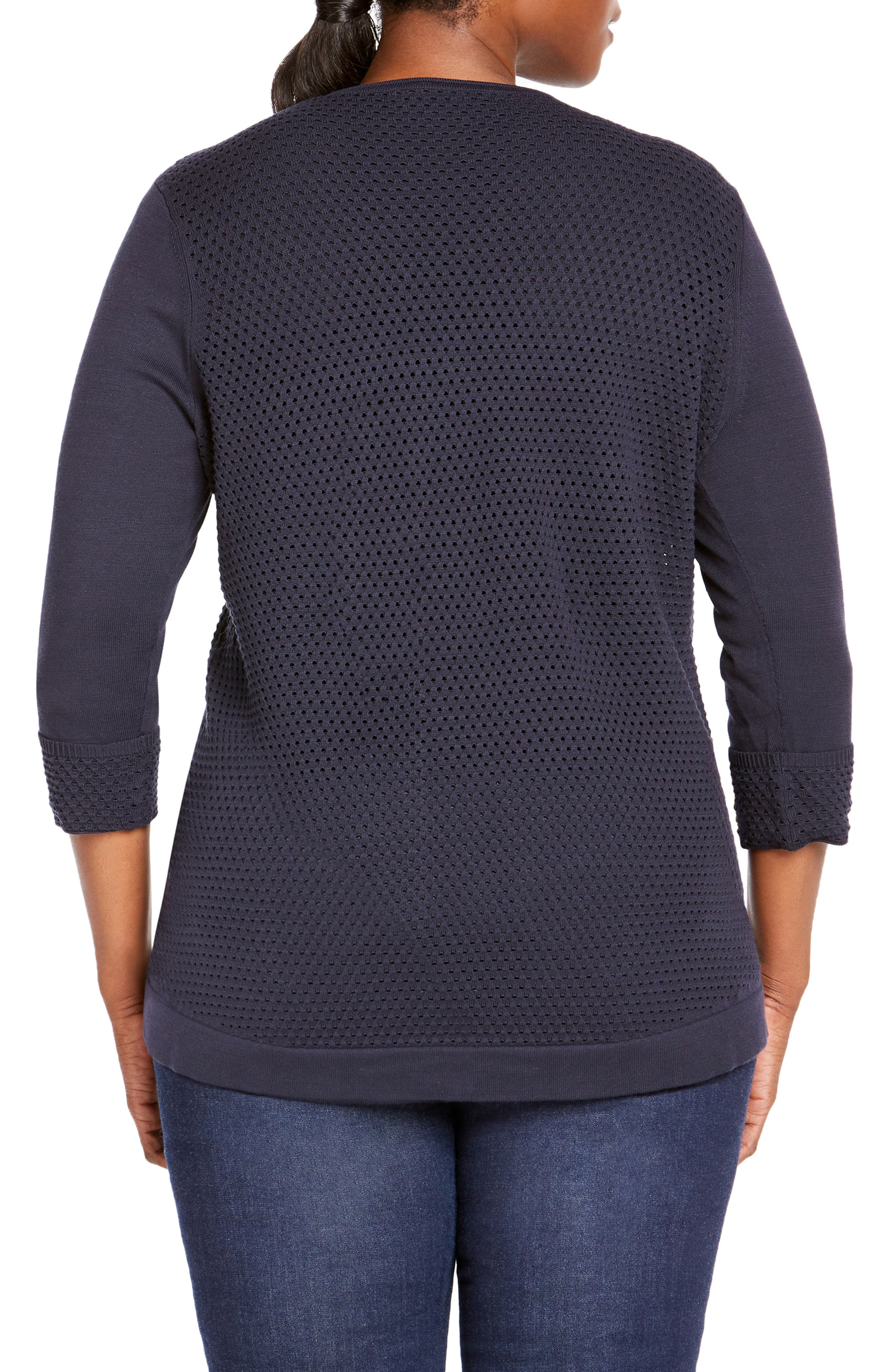 FOXCROFT,                             Presley Perforated Stitch Sweater,                             Alternate thumbnail 2, color,                             NAVY