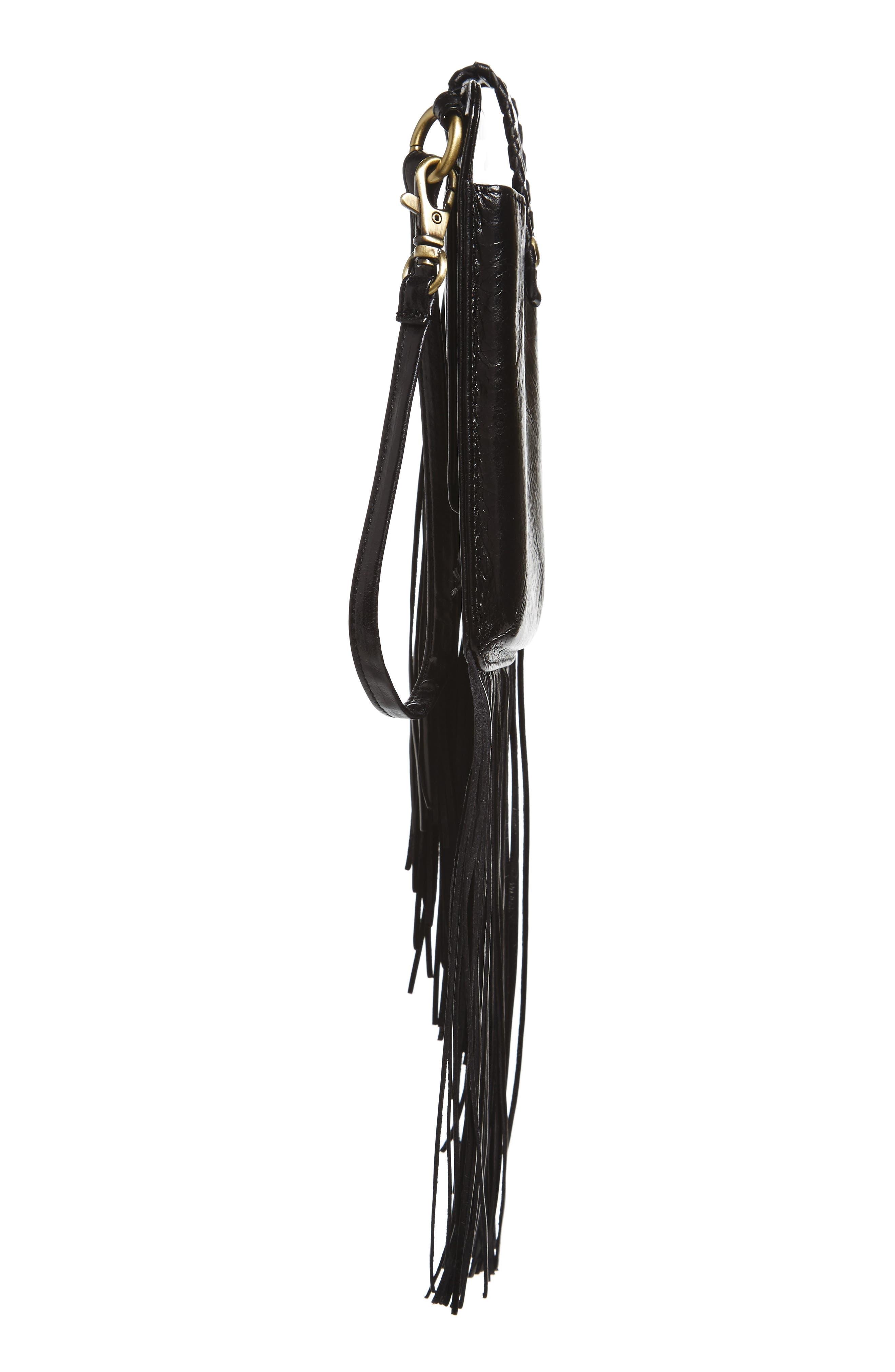 Plume Fringe Calfskin Leather Smartphone Wristlet,                             Alternate thumbnail 5, color,                             001