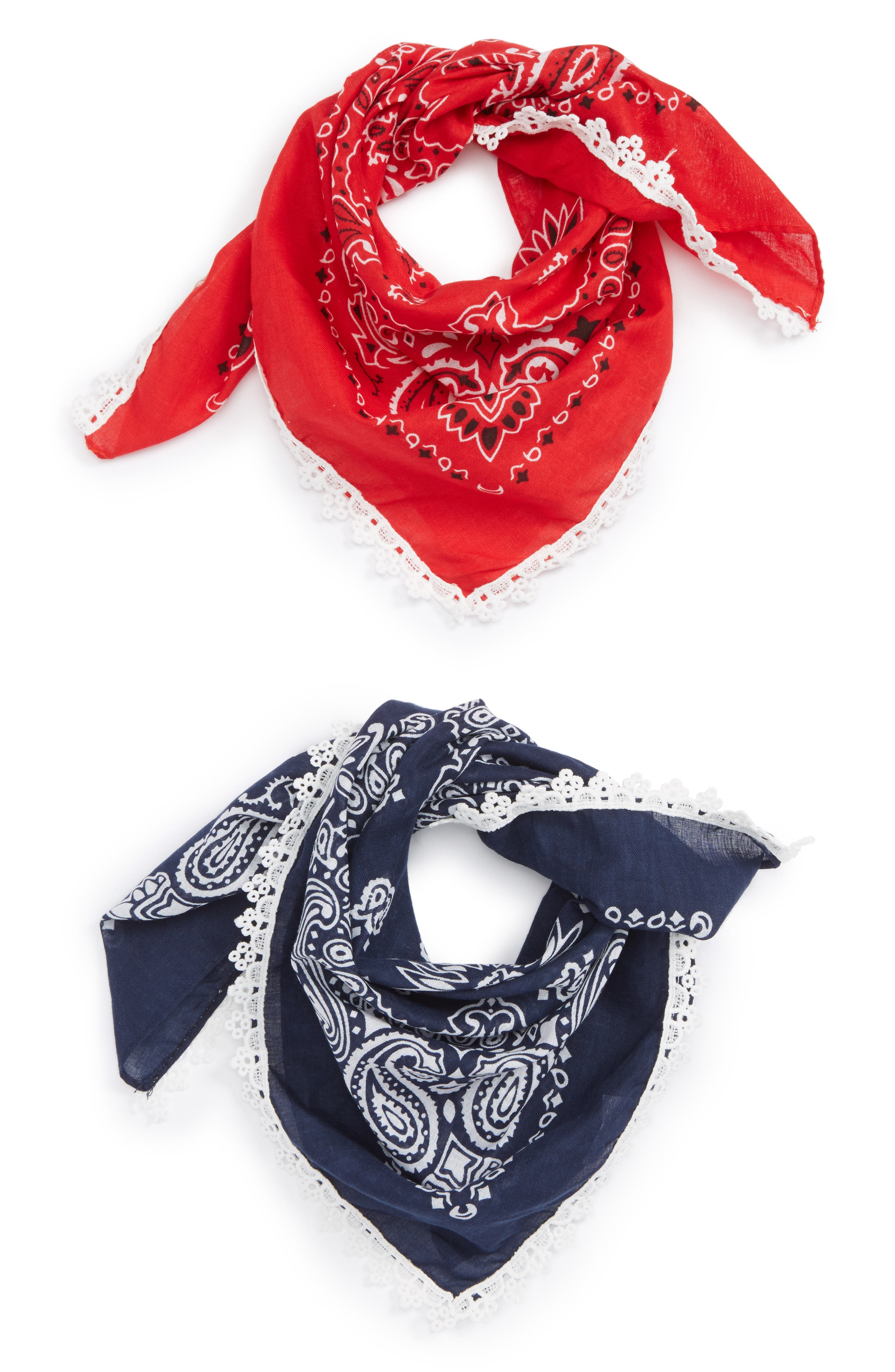 CAPELLI NEW YORK,                             Capelli of New York 2-Pack Lace Trim Bandanas,                             Main thumbnail 1, color,                             401