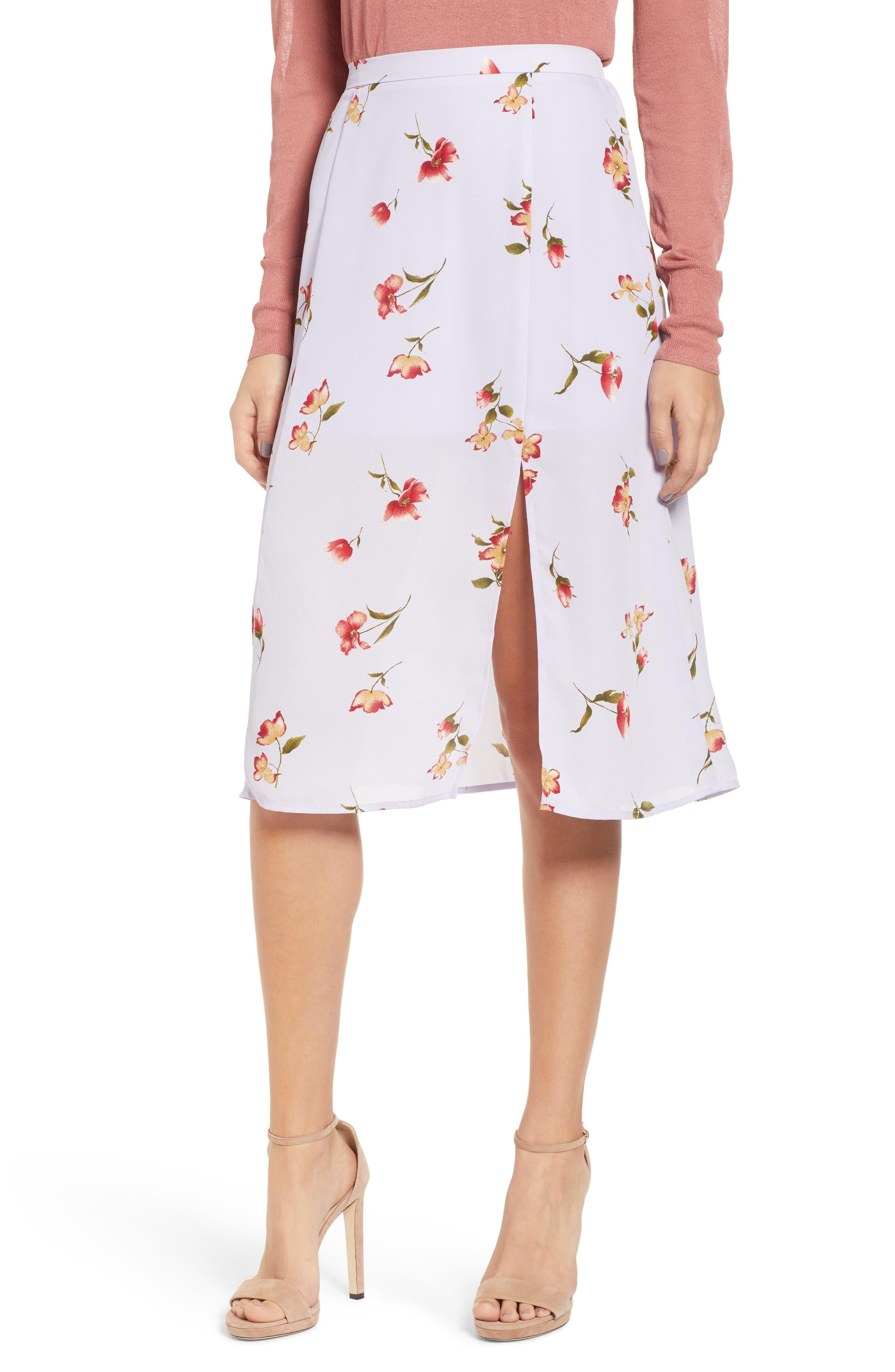 Leith Print Skirt, Purple