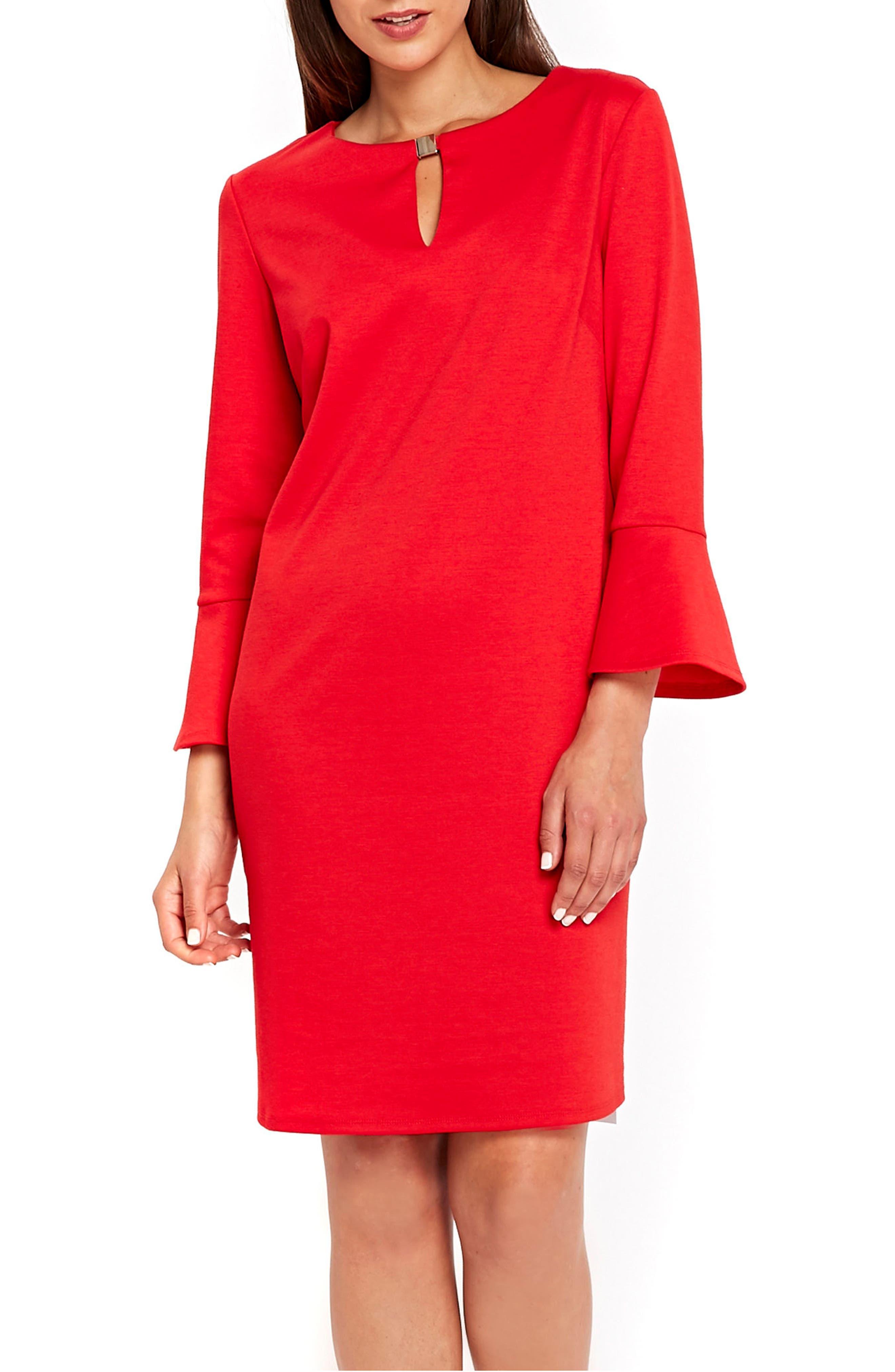 Bell Sleeve Keyhole Neck Dress,                             Main thumbnail 2, color,