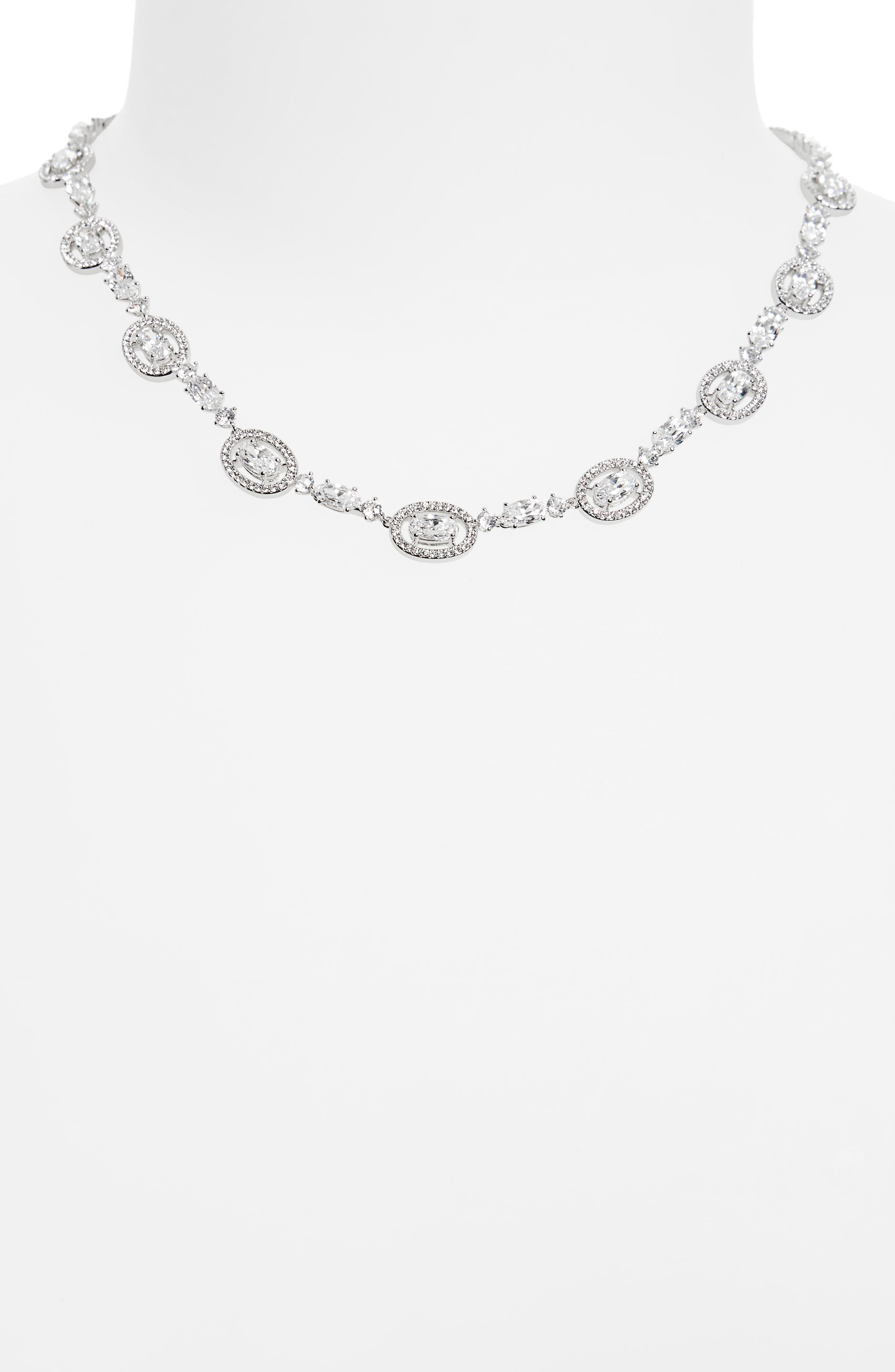 Oval Halo Collar Necklace,                             Alternate thumbnail 2, color,                             SILVER