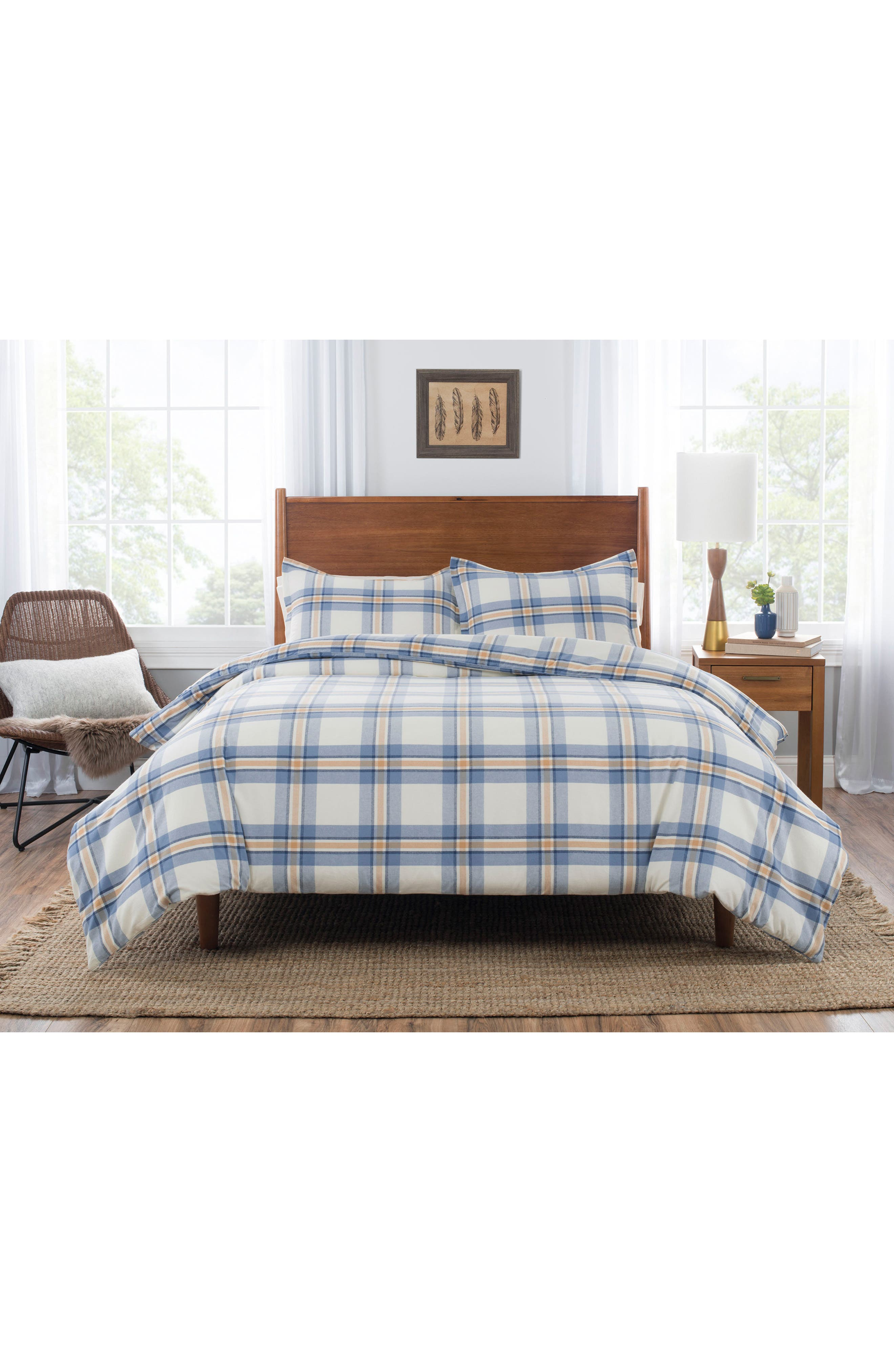 Pinecrest Comforter & Sham Set,                             Main thumbnail 1, color,                             BLUE/ GOLD