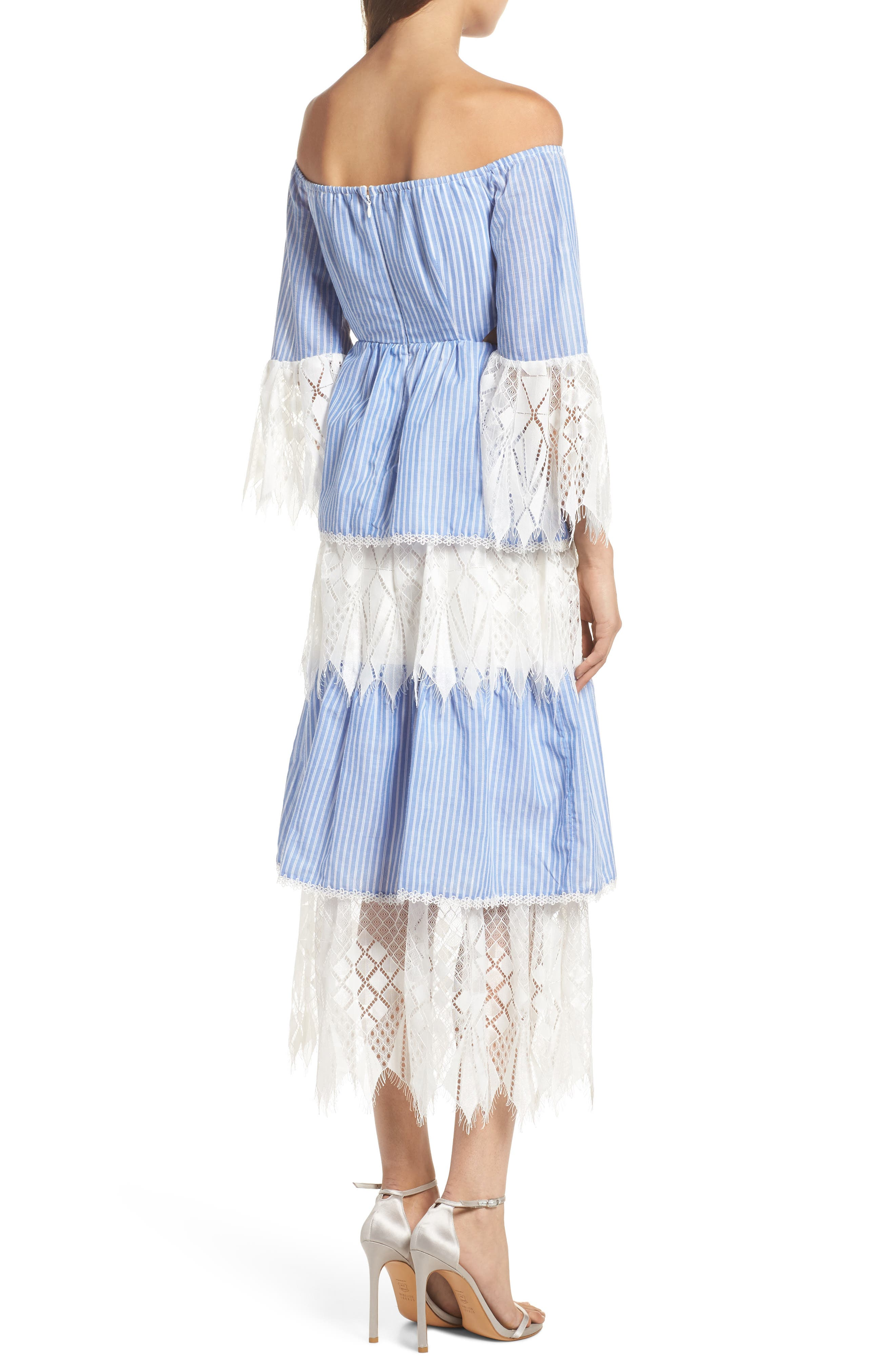 Addison Lace Tier Off the Shoulder Midi Dress,                             Alternate thumbnail 2, color,                             434
