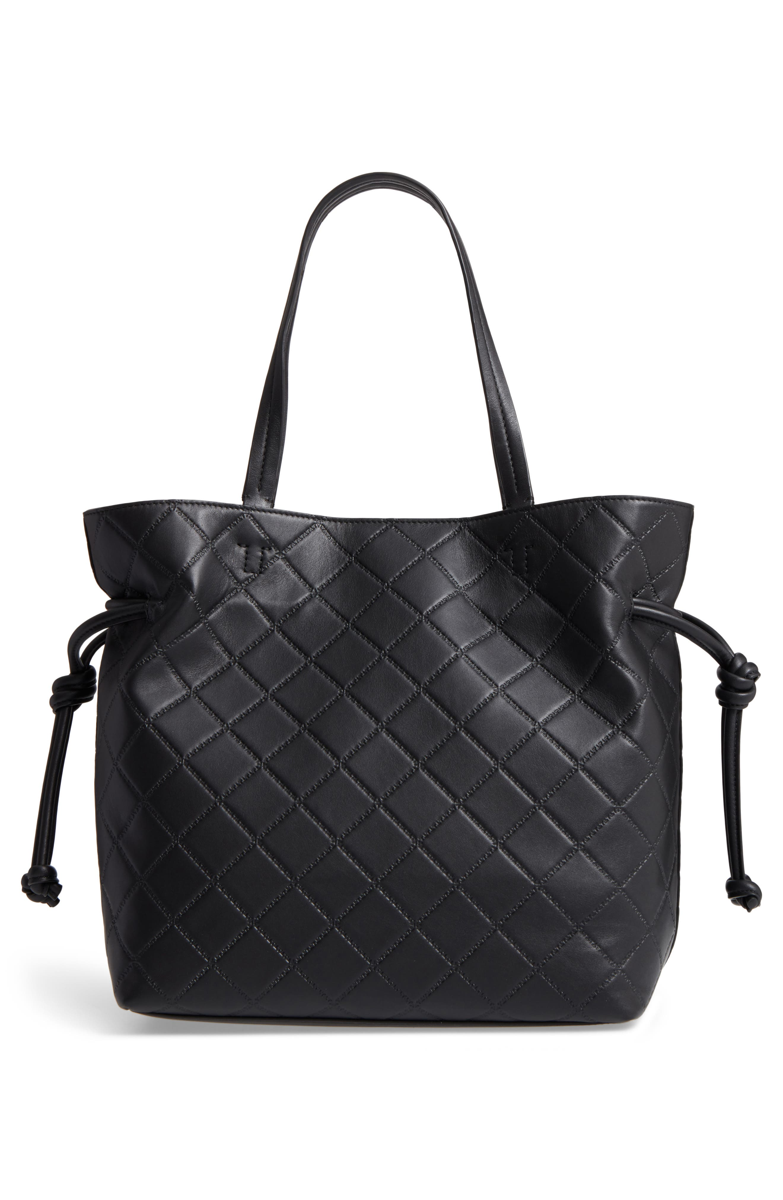 Georgia Slouchy Quilted Leather Tote,                             Alternate thumbnail 3, color,                             001