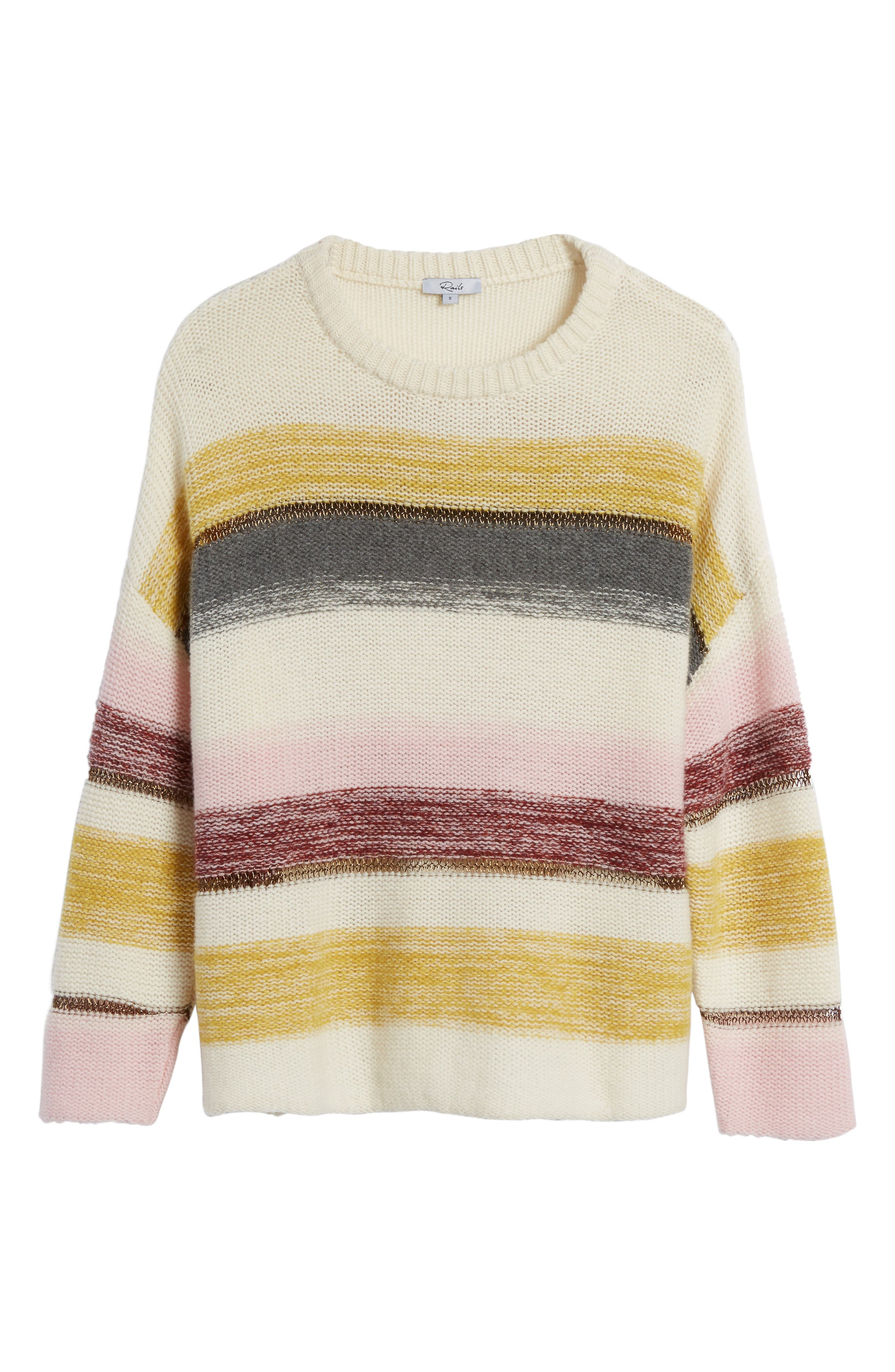 Daphne Stripe Wool & Cashmere Sweater,                             Alternate thumbnail 6, color,                             672