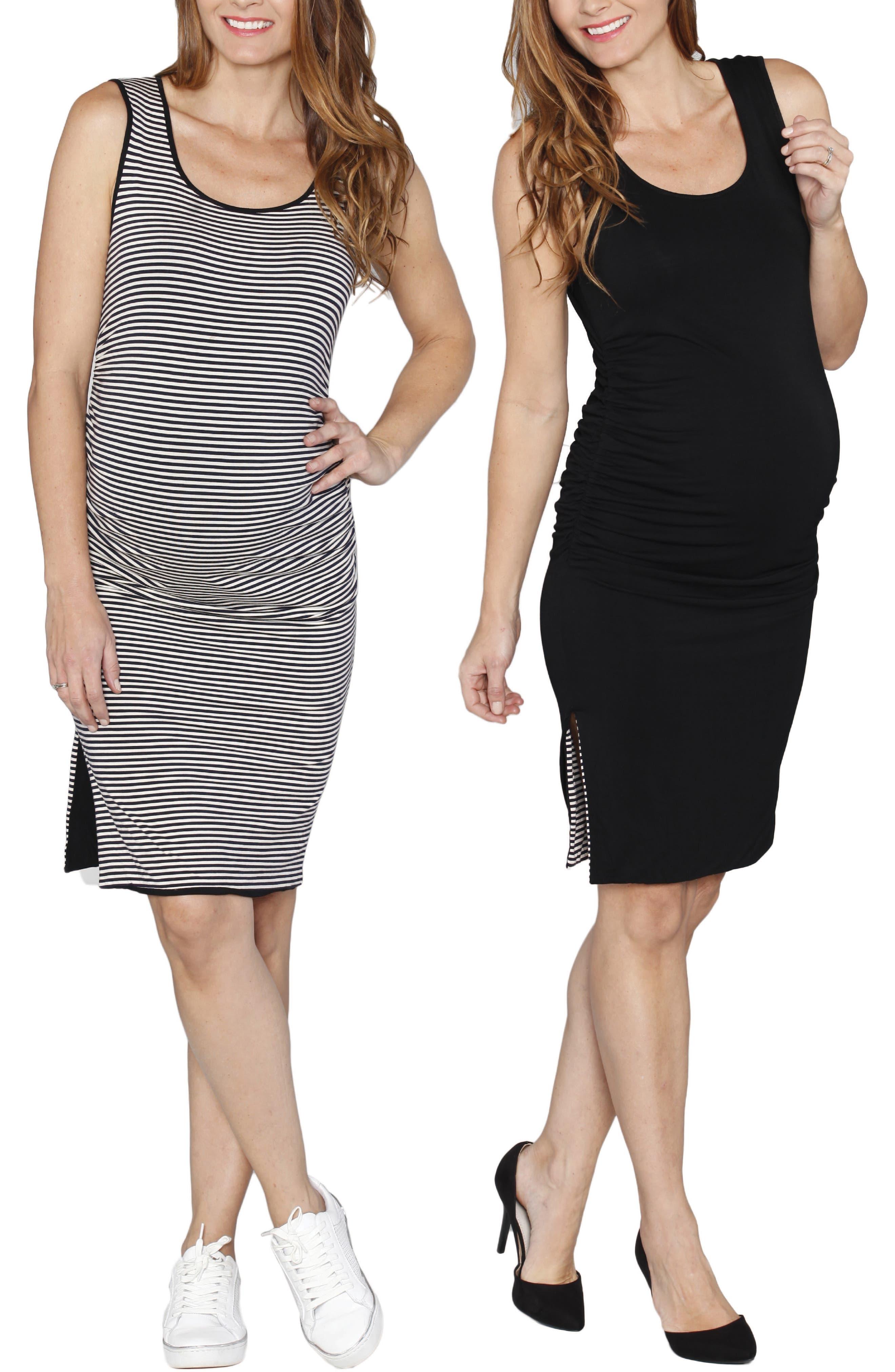 Reversible Maternity Tank Dress,                             Alternate thumbnail 5, color,                             STRIPES