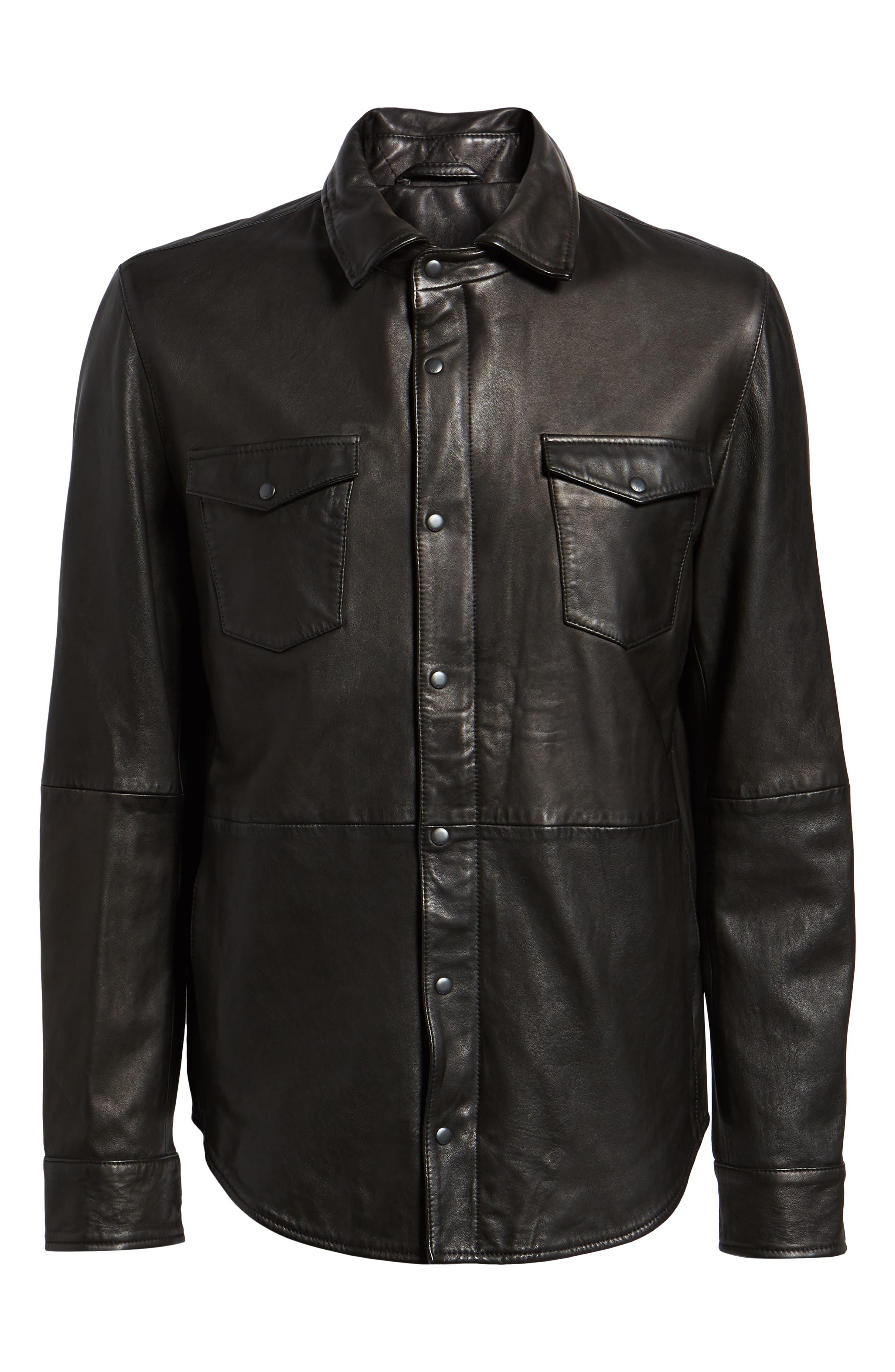 Oiled Lambskin Leather Shirt Jacket,                             Alternate thumbnail 5, color,                             001
