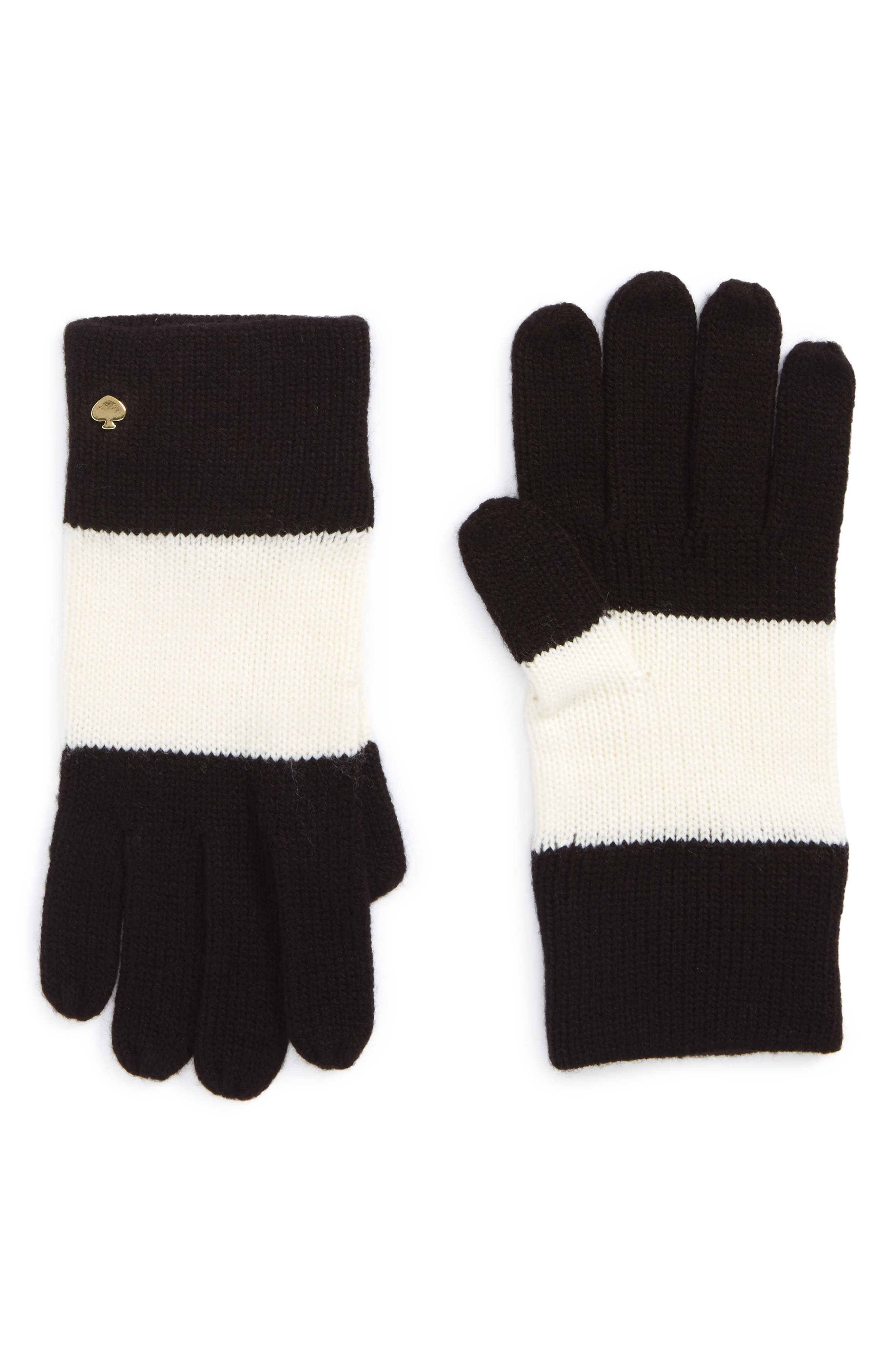 colorblock knit gloves,                         Main,                         color, 001