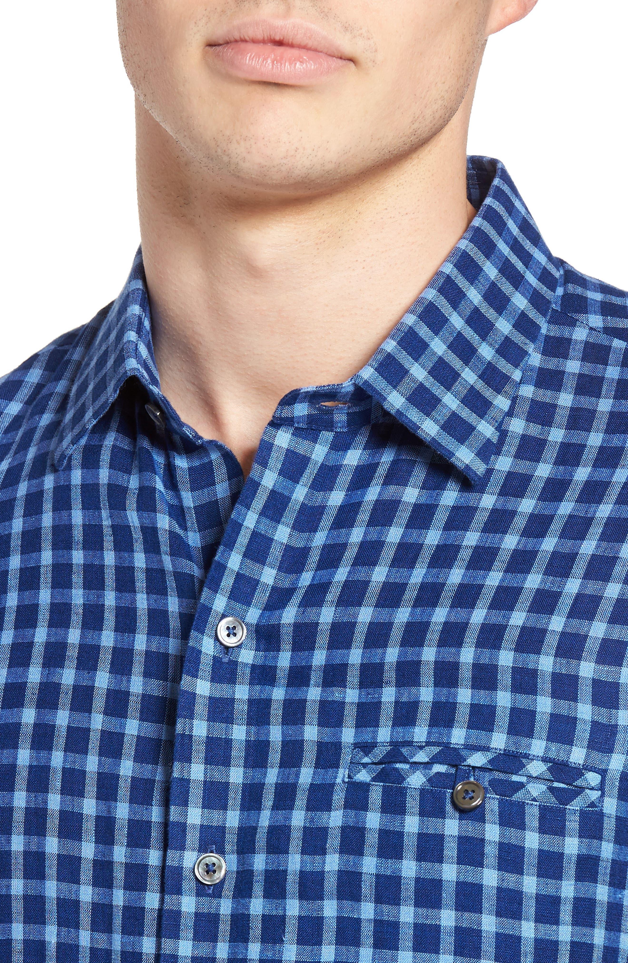 Ray Plaid Linen Sport Shirt,                             Alternate thumbnail 4, color,                             421