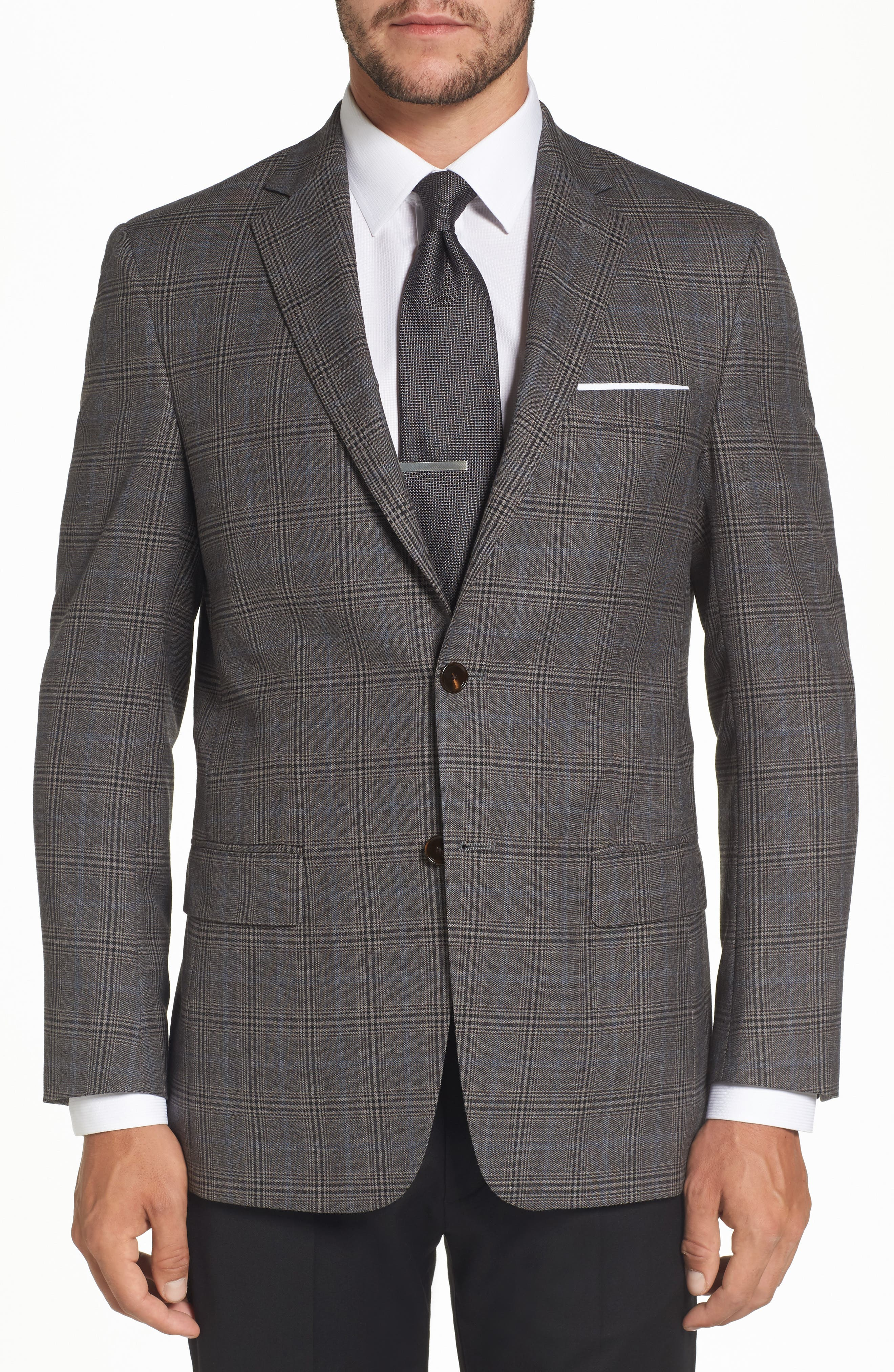 Classic Fit Plaid Stretch Wool Sport Coat,                             Main thumbnail 1, color,                             030