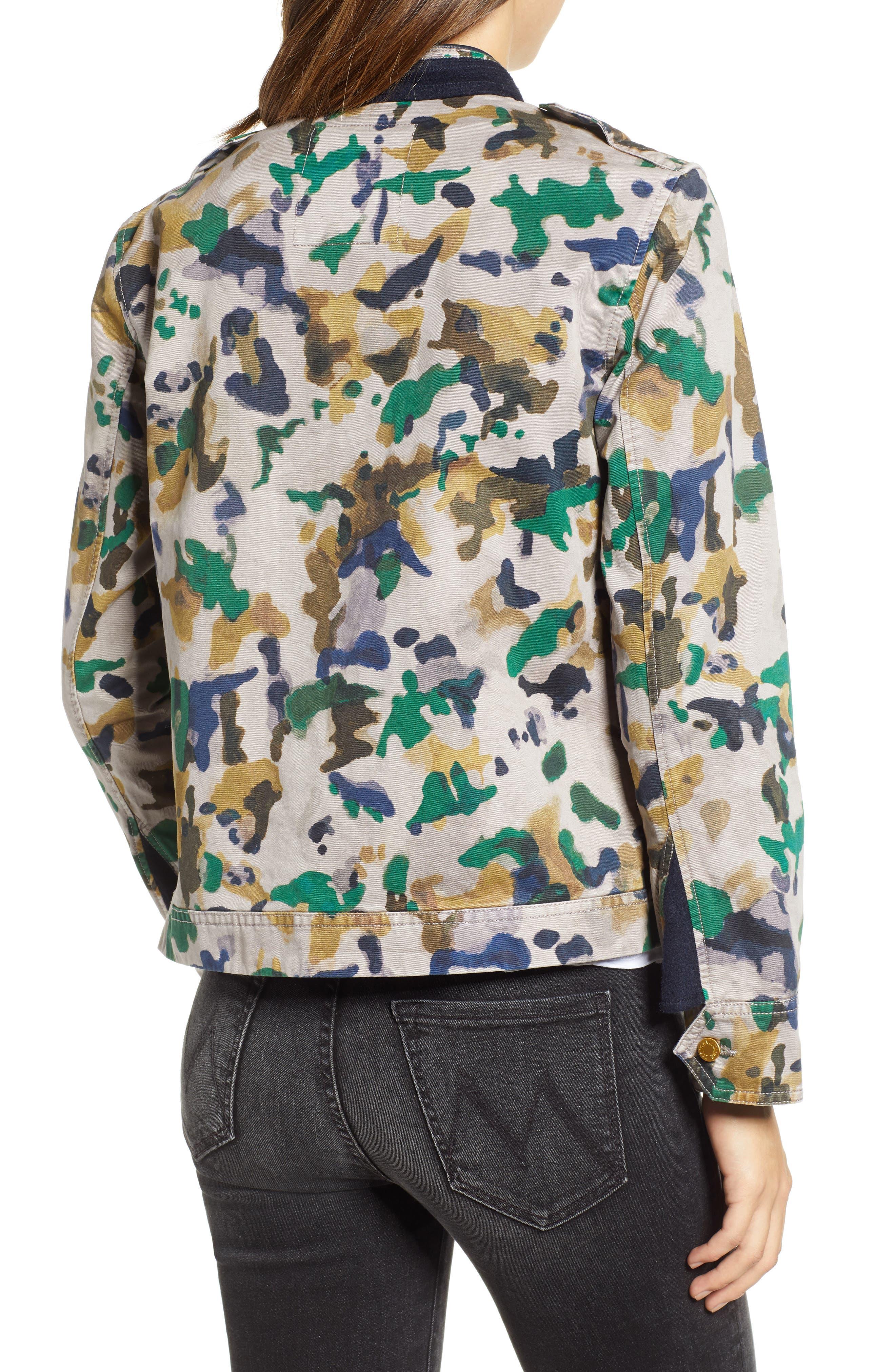 Kavy Watercolor Camouflage Cotton Jacket,                             Alternate thumbnail 2, color,                             MULTI