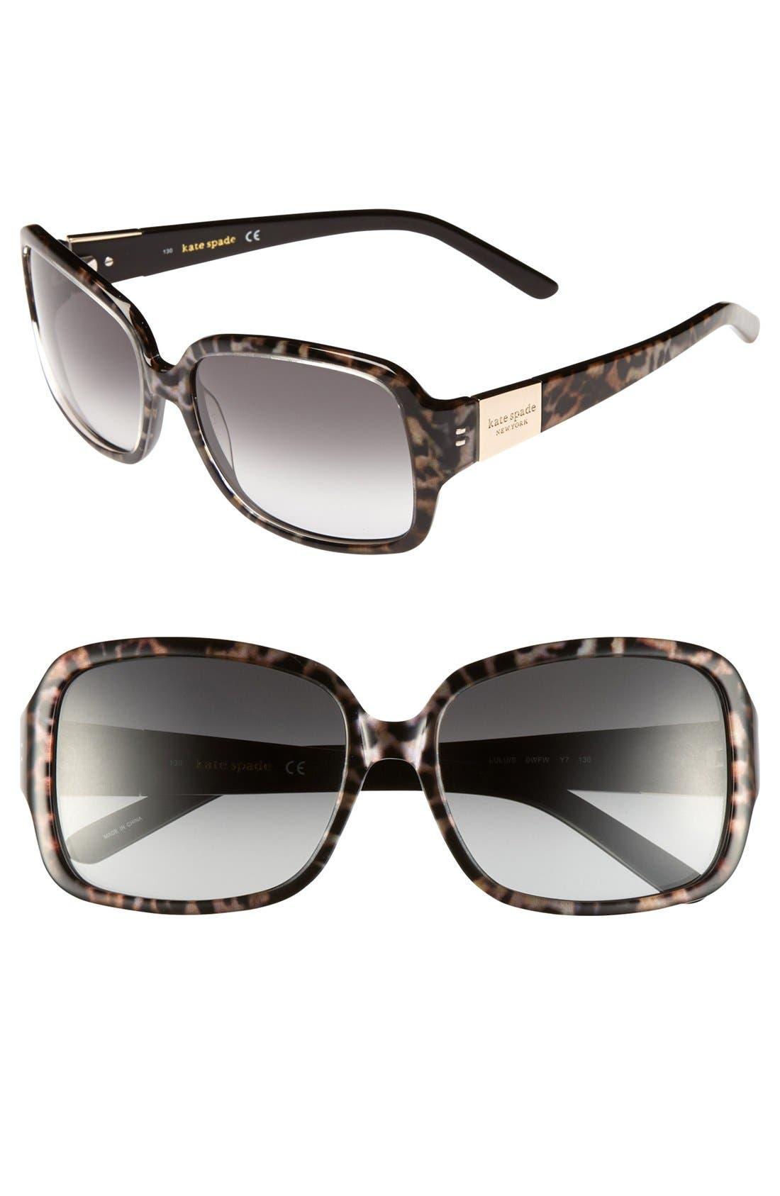 'lulu' 55mm rectangular sunglasses,                             Main thumbnail 1, color,                             TORTOISE/ GOLD
