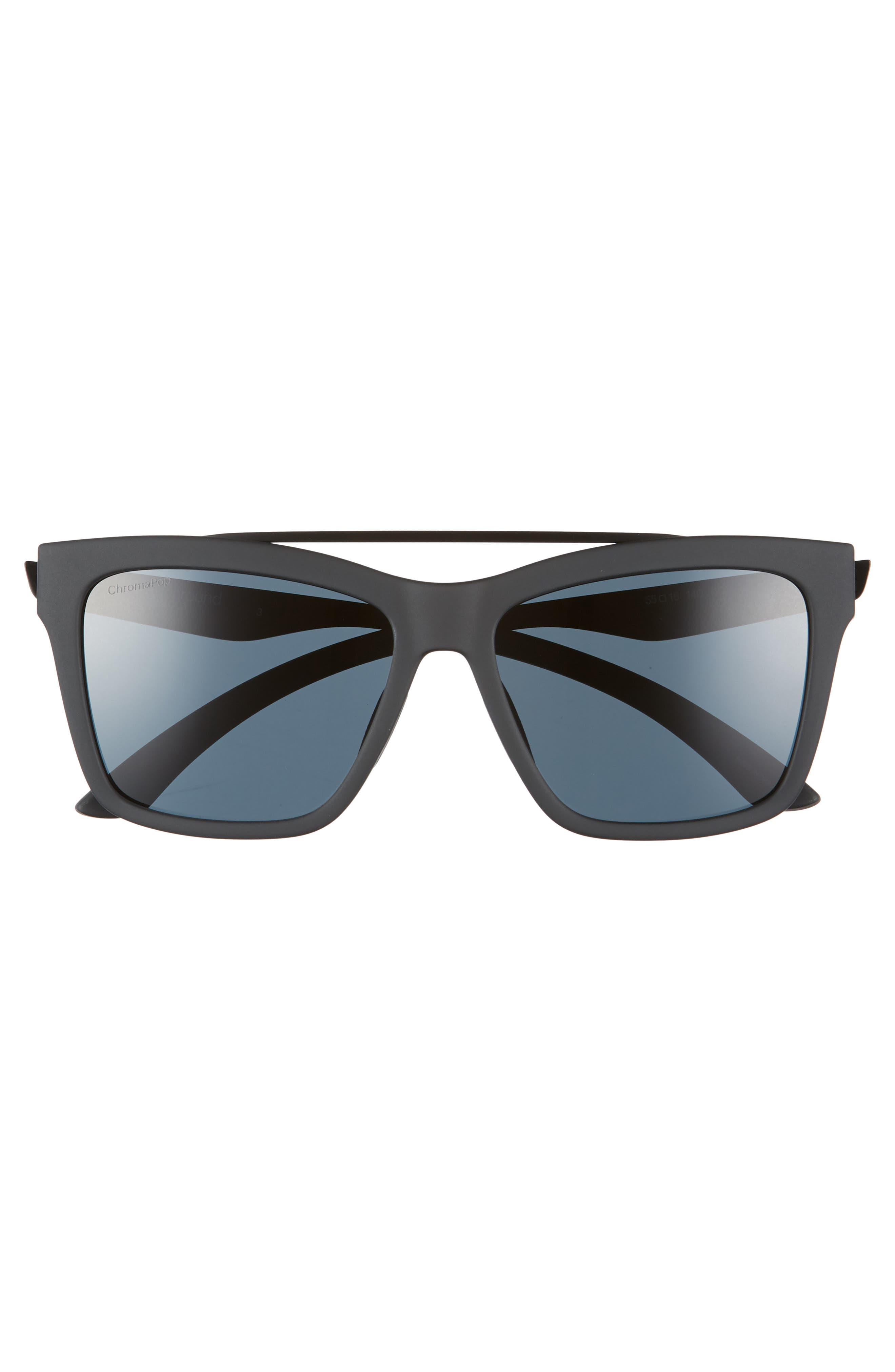 SMITH,                             The Runaround 55mm ChromaPop<sup>™</sup> Polarized Sunglasses,                             Alternate thumbnail 3, color,                             MATTE BLACK