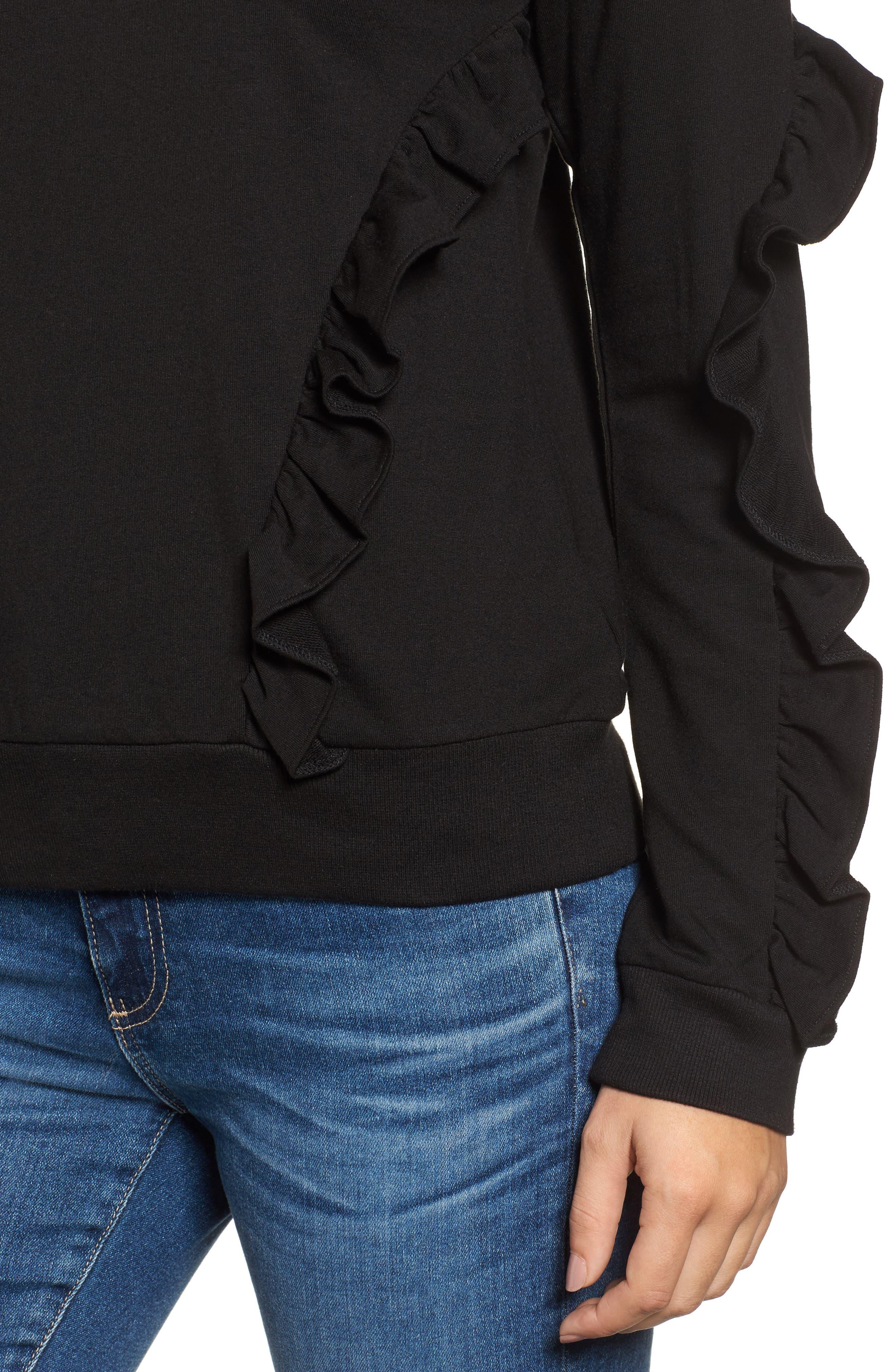 Ruffle Detail Sweatshirt,                             Alternate thumbnail 4, color,                             001