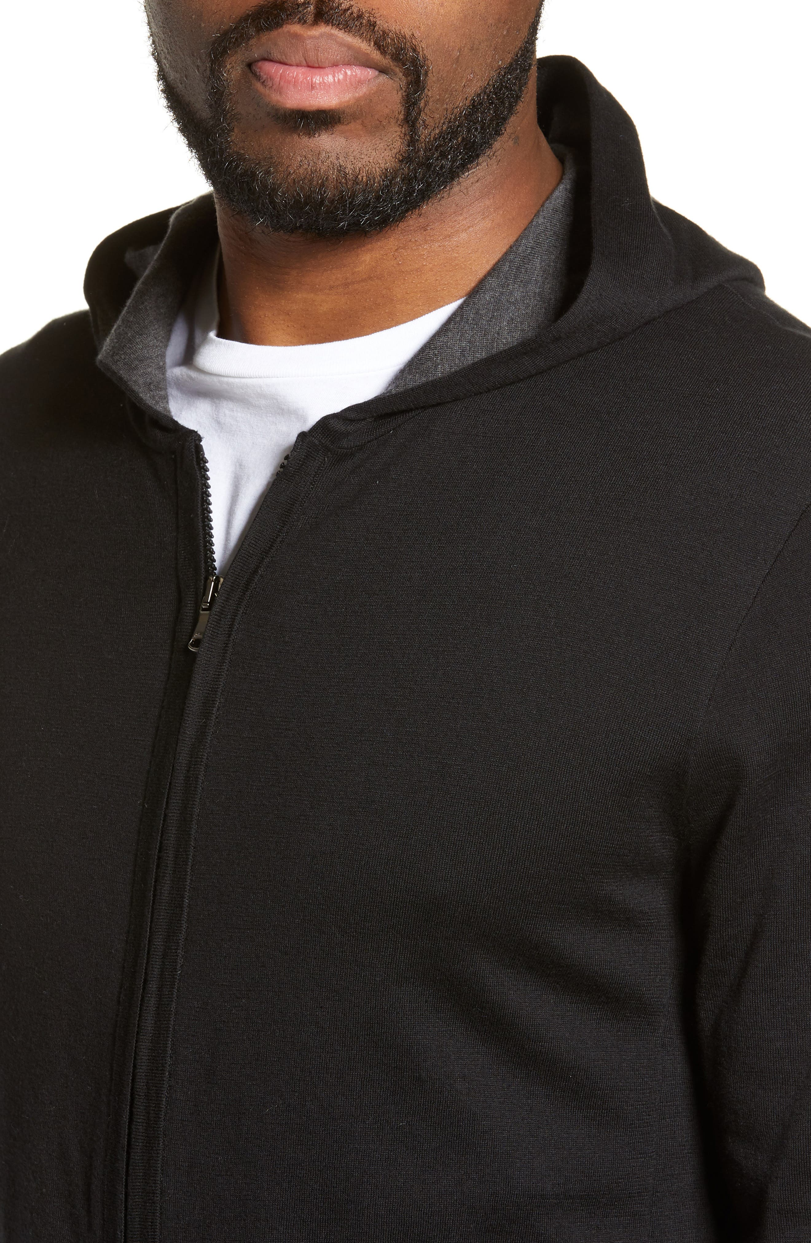 Double Layer Full Zip Hoodie,                             Alternate thumbnail 4, color,                             BLACK/ HEATHER CHARCOAL