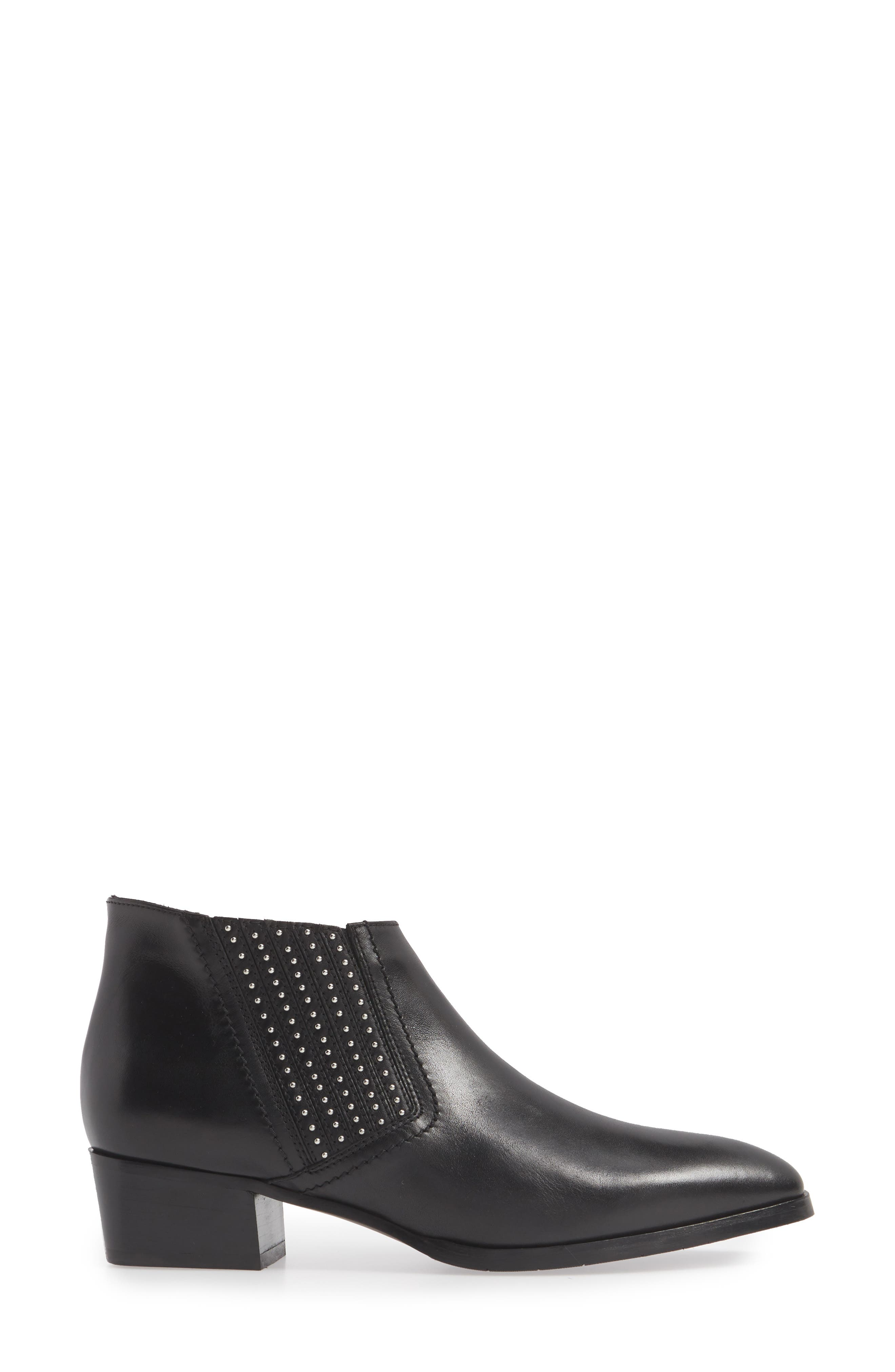 AQUATALIA,                             Fiore Studded Chelsea Bootie,                             Alternate thumbnail 3, color,                             BLACK LEATHER