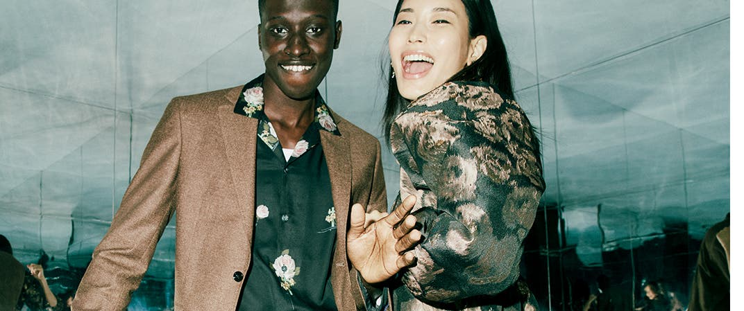 Make a statement: our holiday picks. A man and woman dressed up for a party.