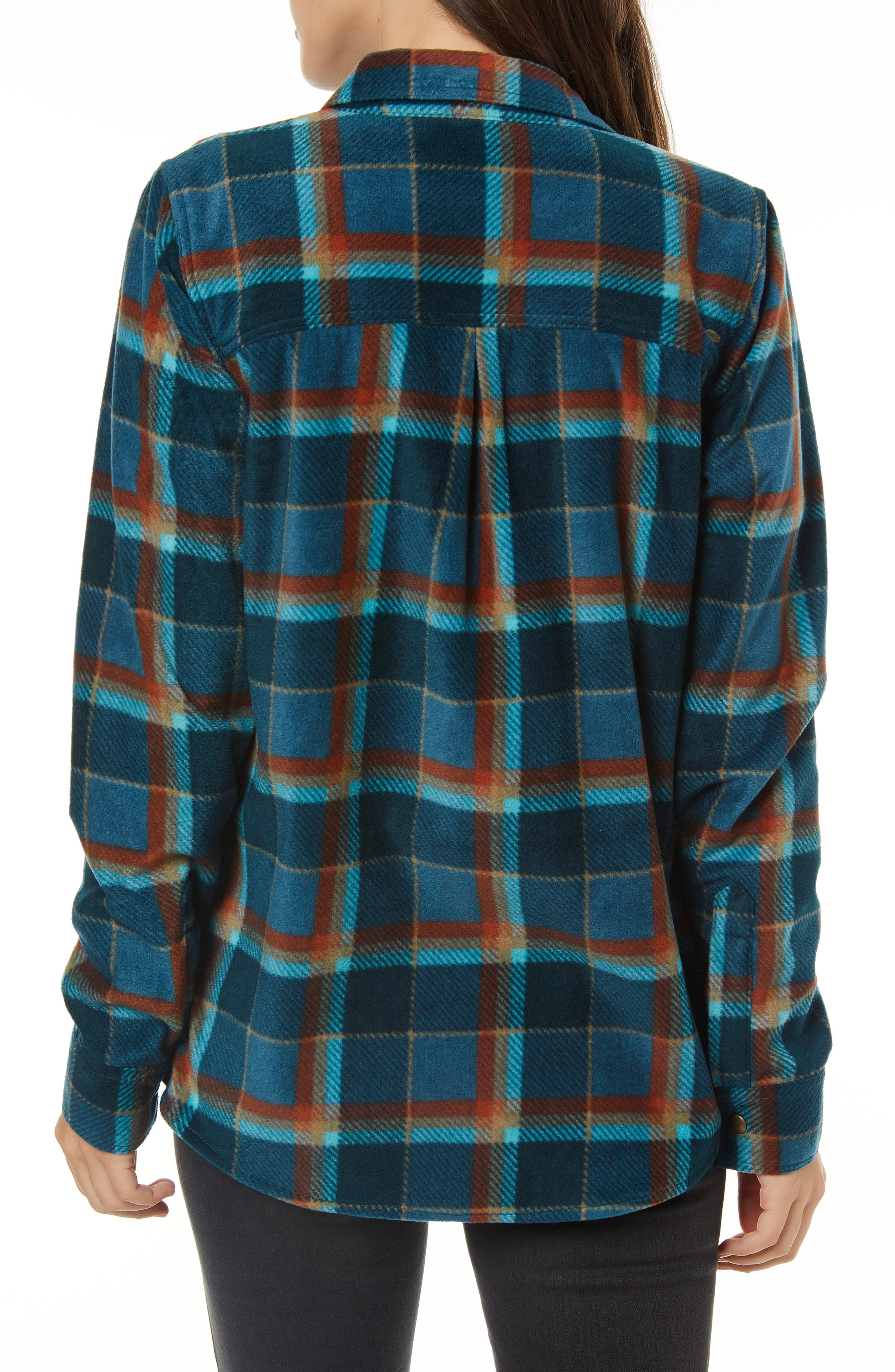Zuma Plaid Fleece Flannel Shirt,                             Alternate thumbnail 2, color,                             DEEP TEAL