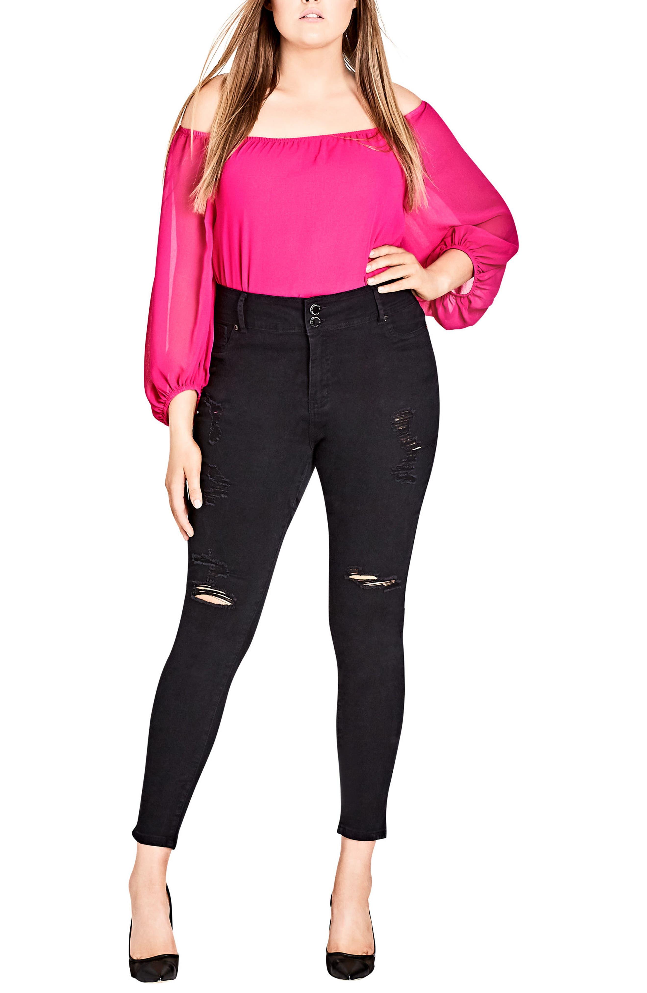 Asha Ripped Skinny Jeans,                             Alternate thumbnail 4, color,                             001