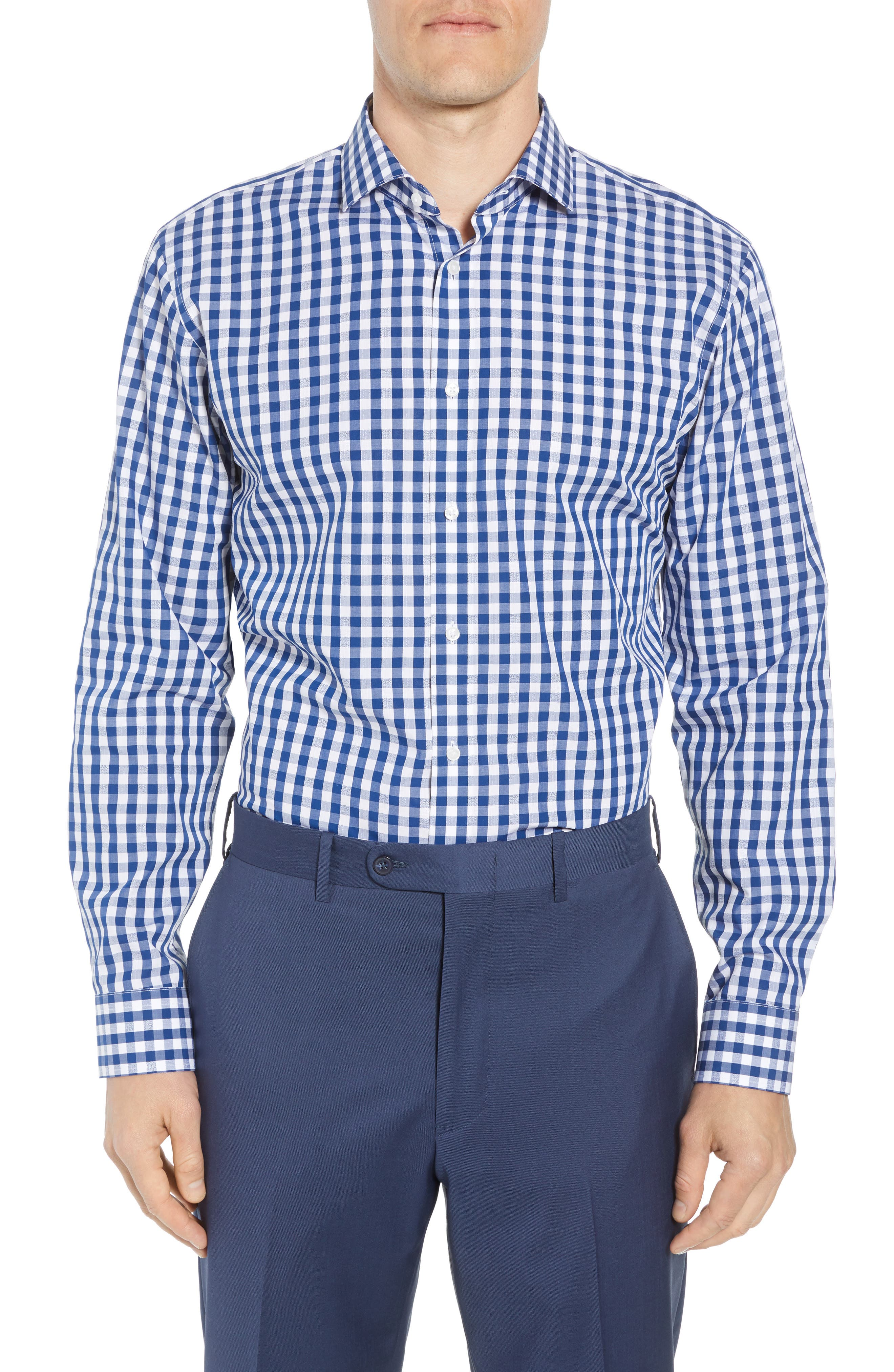 Trim Fit Check Dress Shirt,                         Main,                         color, BLUE CASPIA