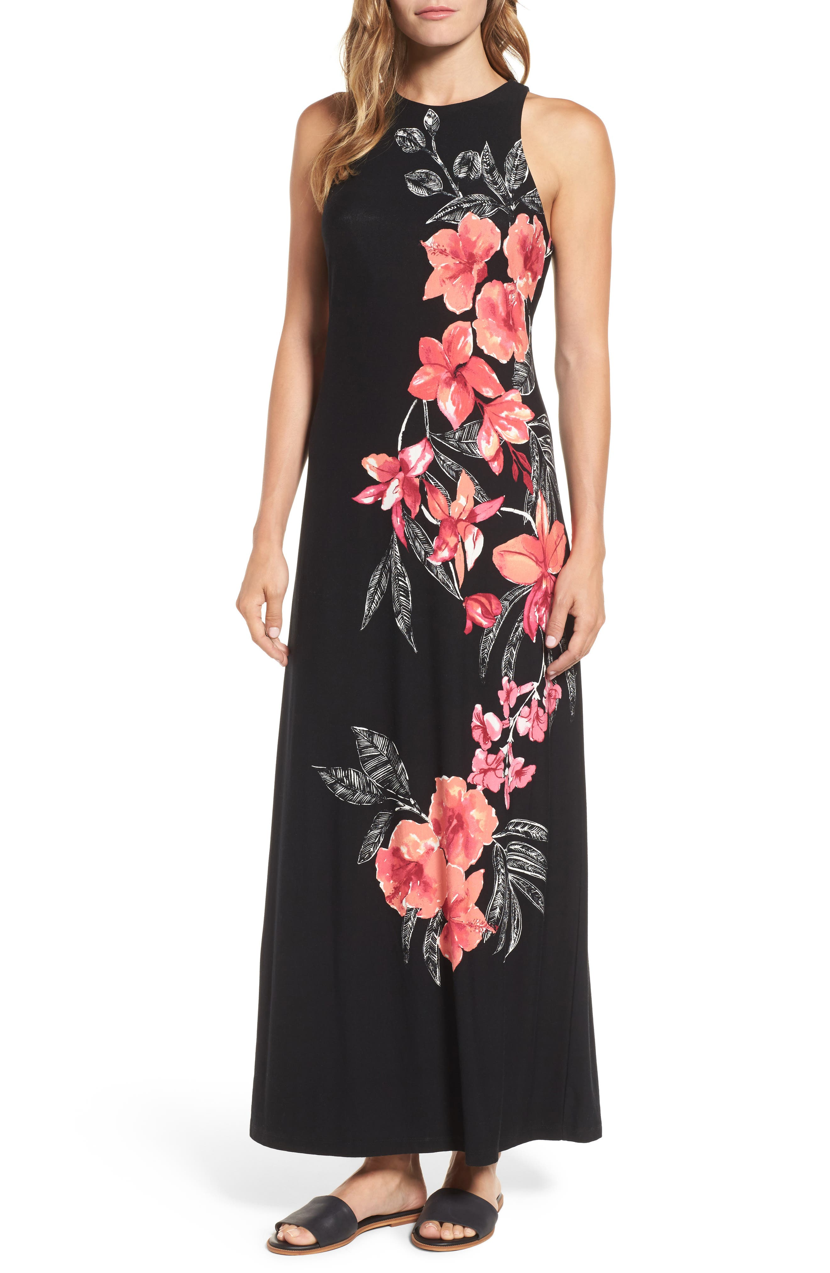 Bedoin Blossoms Maxi Dress,                             Main thumbnail 1, color,                             001