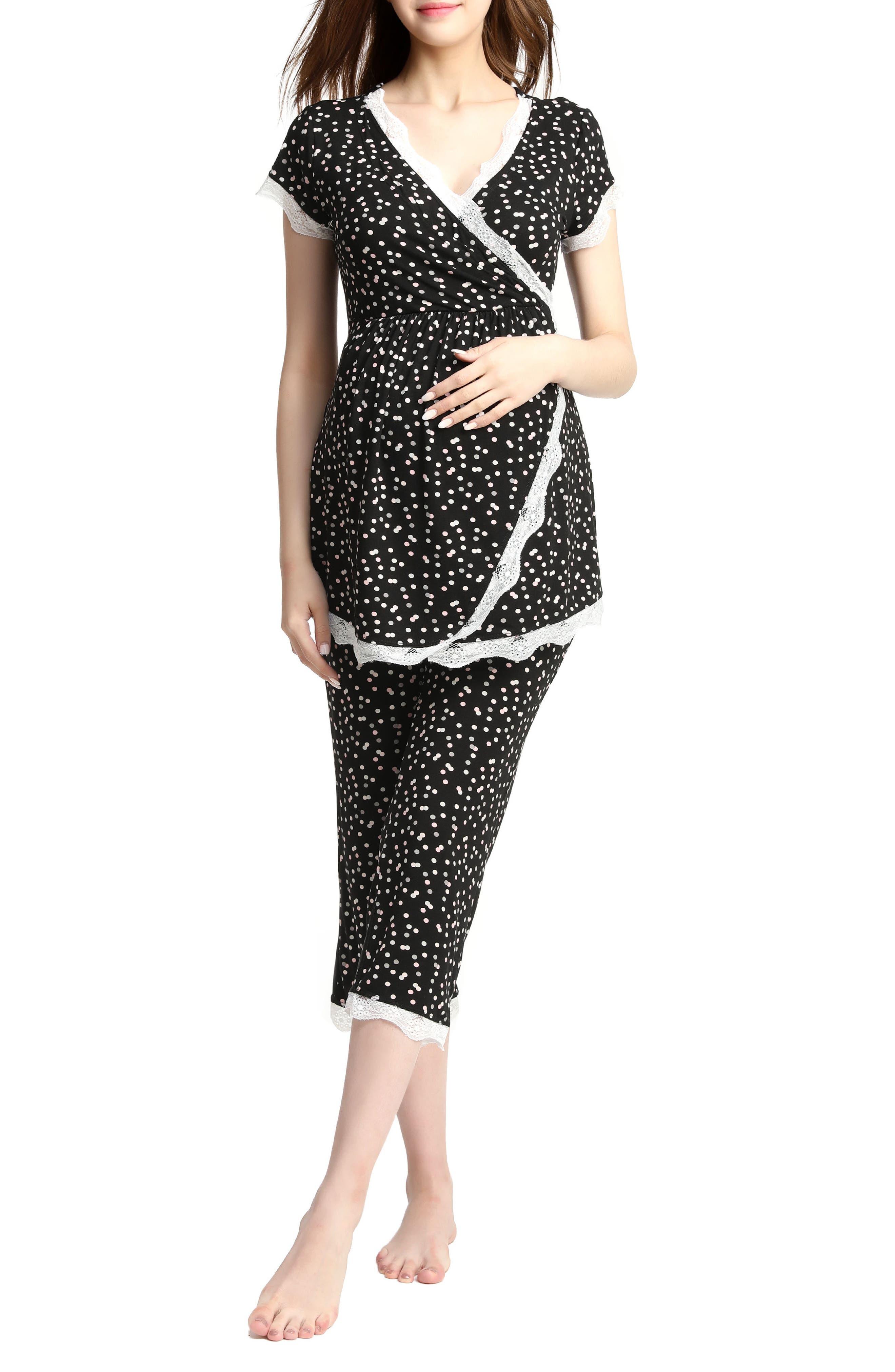 Kimi & Kai Addison Nursing/Maternity Pajamas,                             Main thumbnail 1, color,                             BLACK