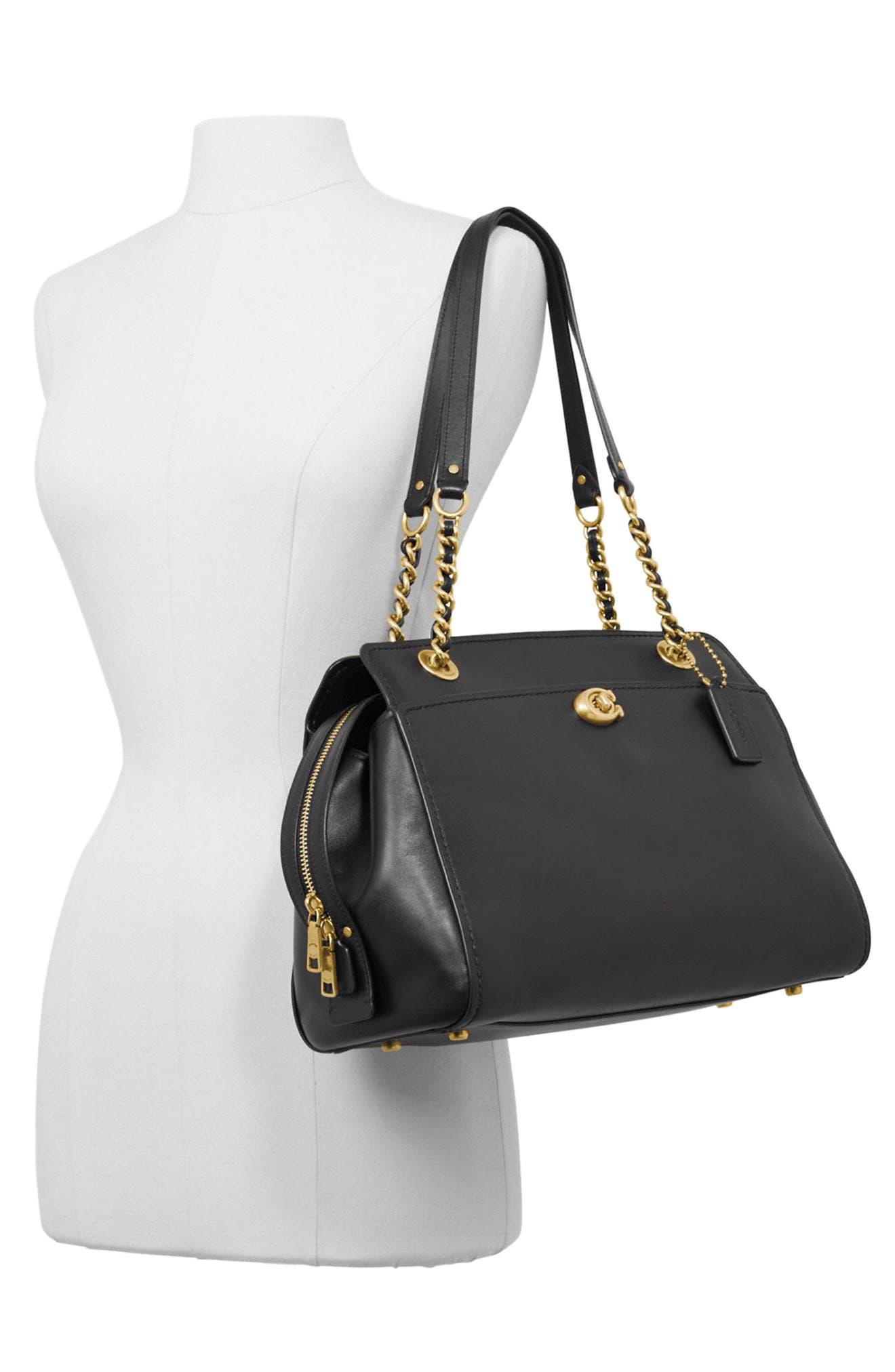 COACH,                             Parker Leather Shoulder Bag,                             Alternate thumbnail 2, color,                             BLACK