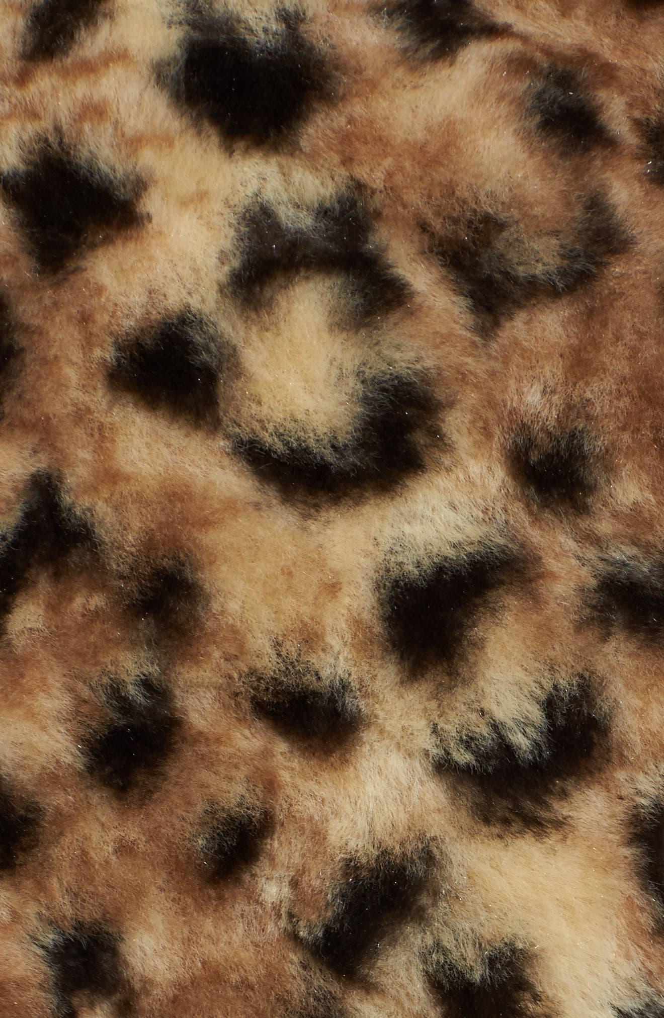Reversible Faux Leopard Fur Coat,                             Alternate thumbnail 13, color,